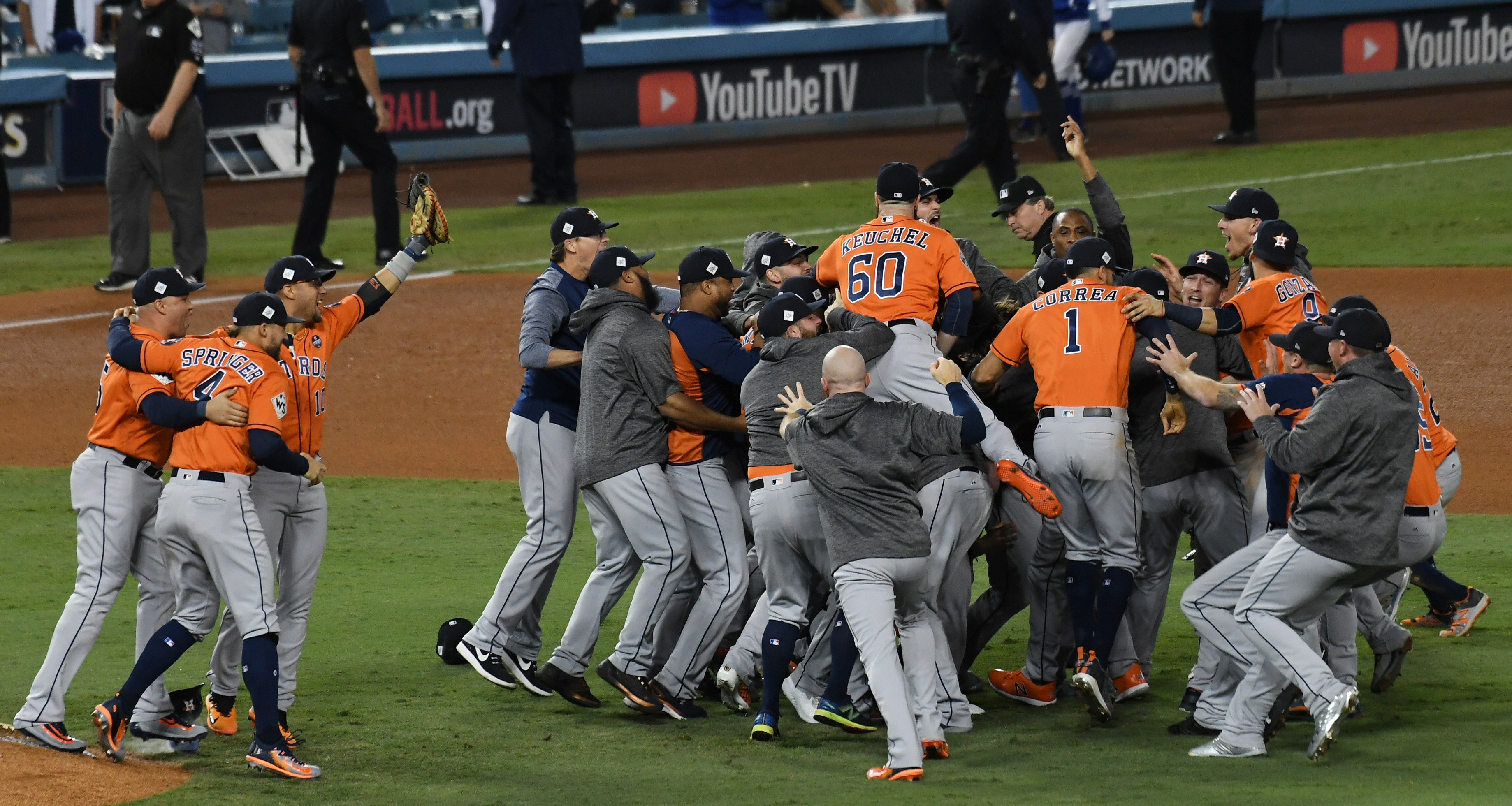 Nov 1, 2017; Los Angeles, CA, USA; The Houston Astros celebrate defeating the Los Angeles Dodgers in game seven to win the 2017 World Series at Dodger Stadium. Mandatory Credit: Richard Mackson-USA TODAY Sports