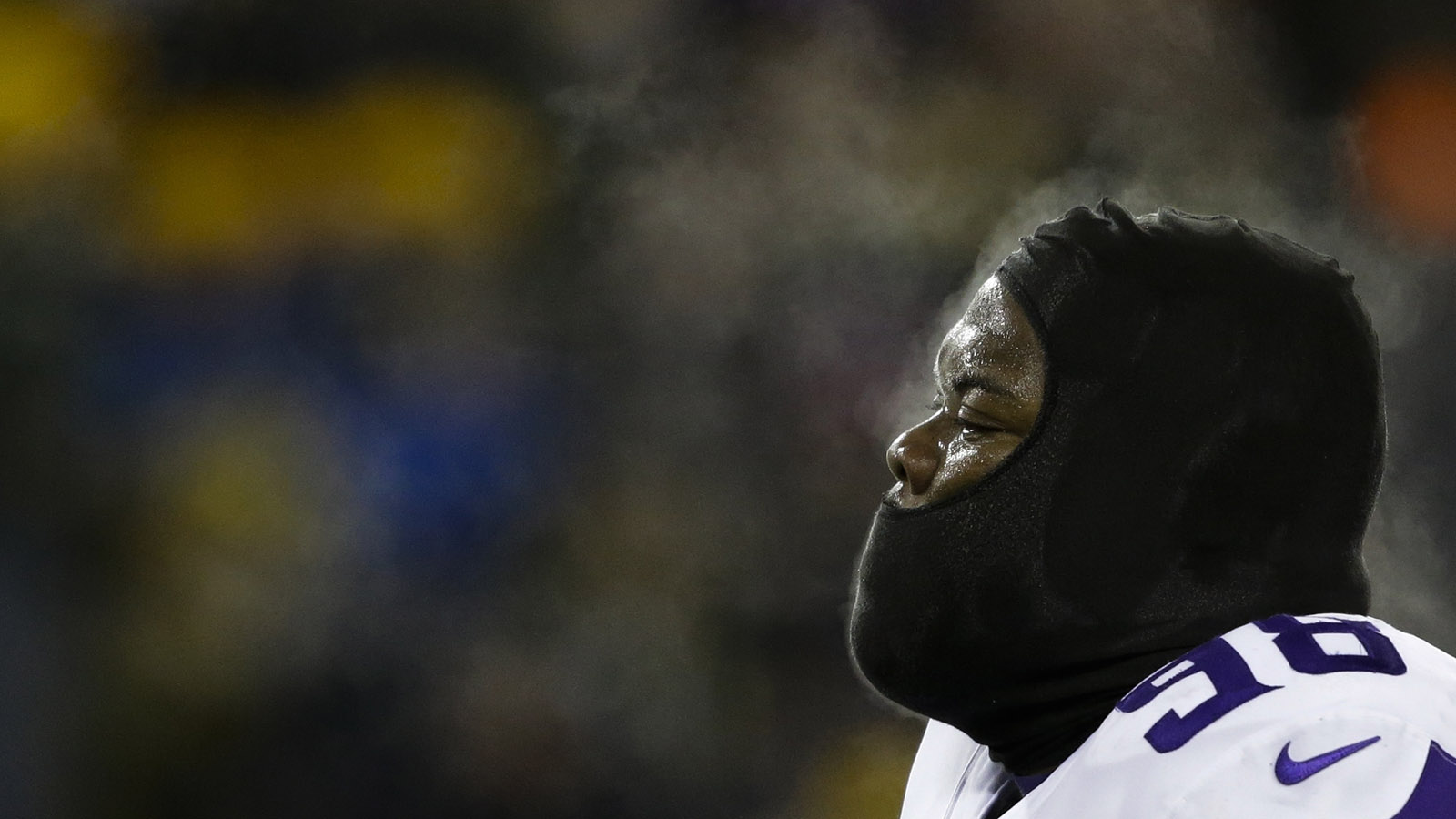 Steam rises from the head of Minnesota Vikings' Linval Joseph during the first half of an NFL football game against the Green Bay Packers Saturday, Dec. 23, 2017, in Green Bay, Wis. (AP Photo/Jeffrey Phelps)