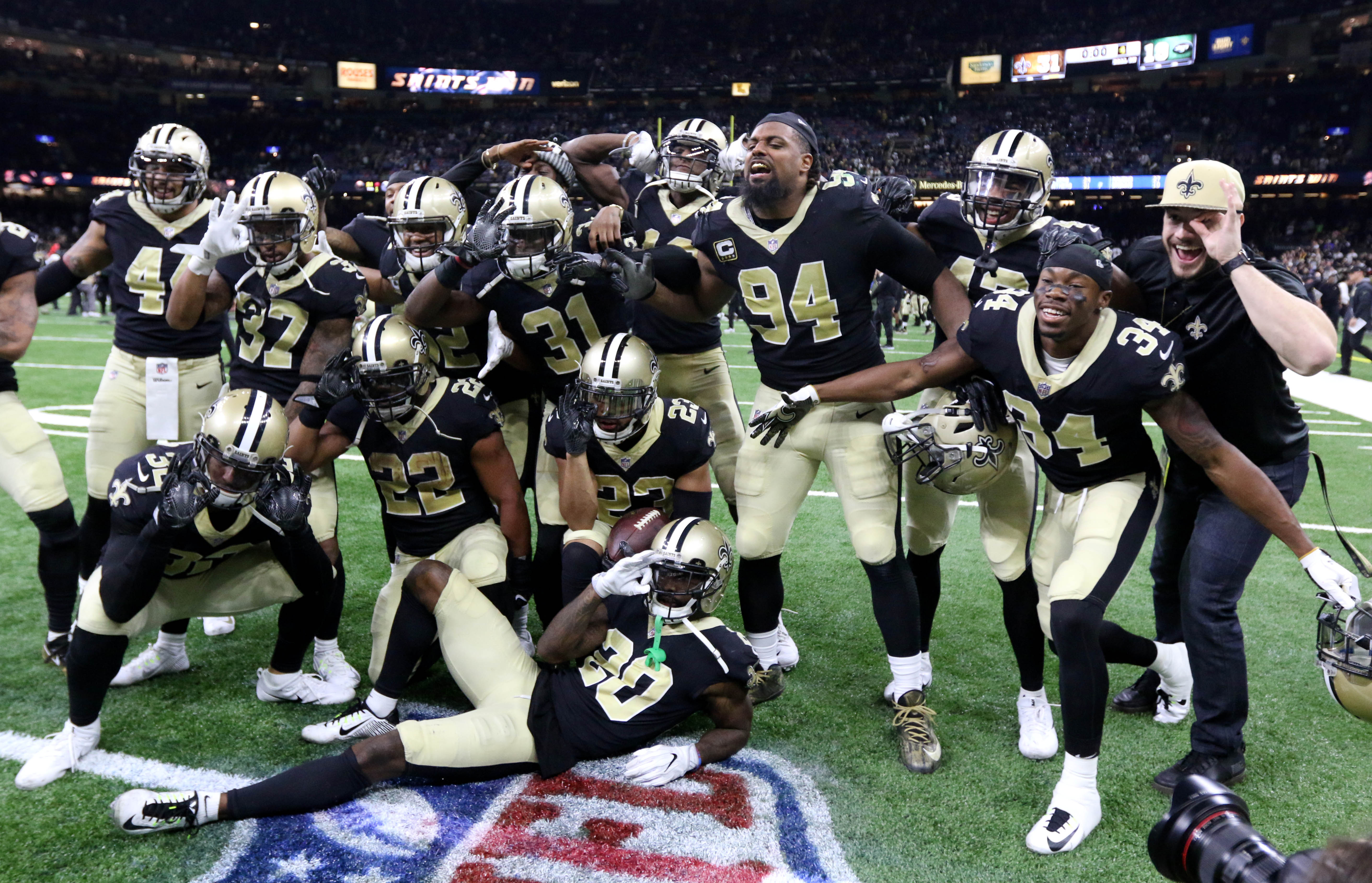 Dec 17, 2017; New Orleans, LA, USA; The New Orleans Saints defense poses for a photo after cornerback Marshon Lattimore (23) intercepted a pass on the last play of the game against the New York Jets at the Mercedes-Benz Superdome. The Saints won, 31-19. Mandatory Credit: Chuck Cook-USA TODAY Sports