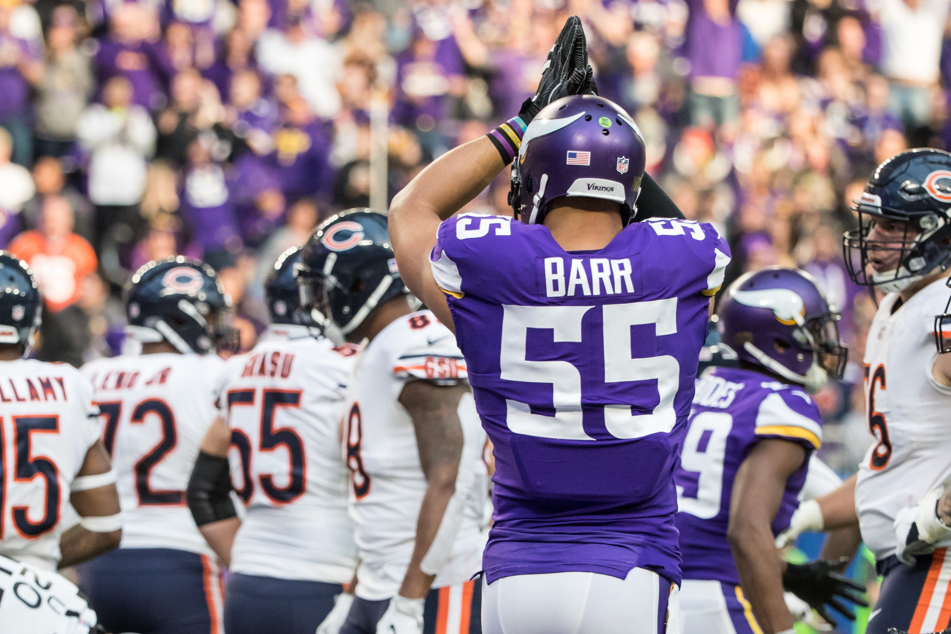 Dec 31, 2017; Minneapolis, MN, USA; Minnesota Vikings linebacker Anthony Barr (55) reacts to a safety during the second quarter against the Chicago Bears at U.S. Bank Stadium. Mandatory Credit: Brace Hemmelgarn-USA TODAY Sports