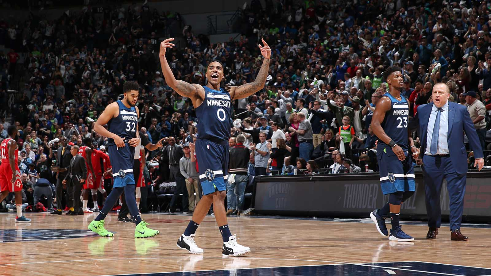 MINNEAPOLIS, MN -  APRIL 21: Jeff Teague #0 of the Minnesota Timberwolves reacts in Game Three of Round One of the 2018 NBA Playoffs against the Houston Rockets on April 21, 2018 at Target Center in Minneapolis, Minnesota. NOTE TO USER: User expressly acknowledges and agrees that, by downloading and or using this Photograph, user is consenting to the terms and conditions of the Getty Images License Agreement. Mandatory Copyright Notice: Copyright 2018 NBAE (Photo by David Sherman/NBAE via Getty Images)