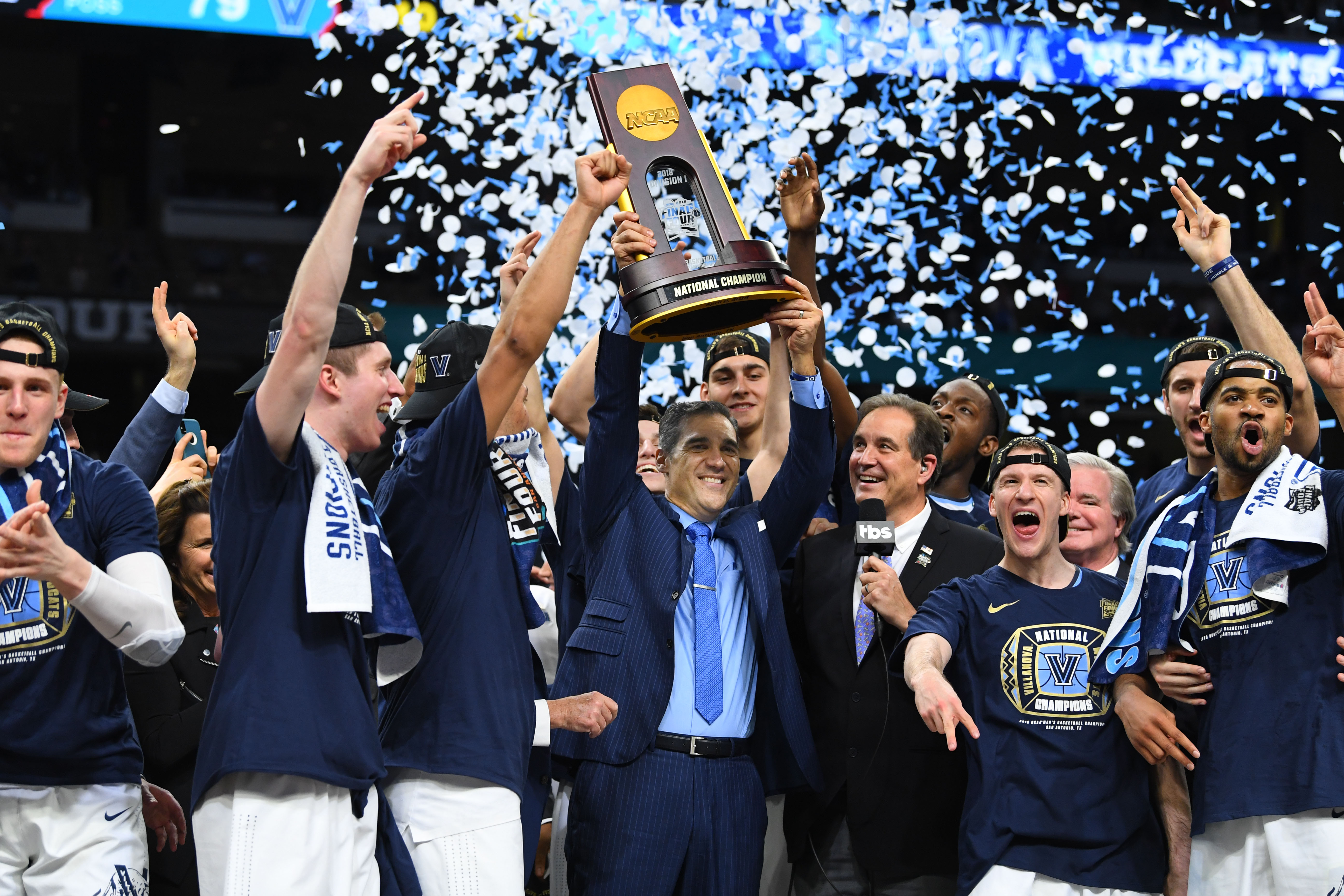 Apr 2, 2018; San Antonio, TX, USA; Villanova Wildcats head coach Jay Wright hoists the national championship trophy after defeating the Michigan Wolverines 79-62 in the championship game of the 2018 men's Final Four at Alamodome. Mandatory Credit: Robert Deutsch-USA TODAY Sports