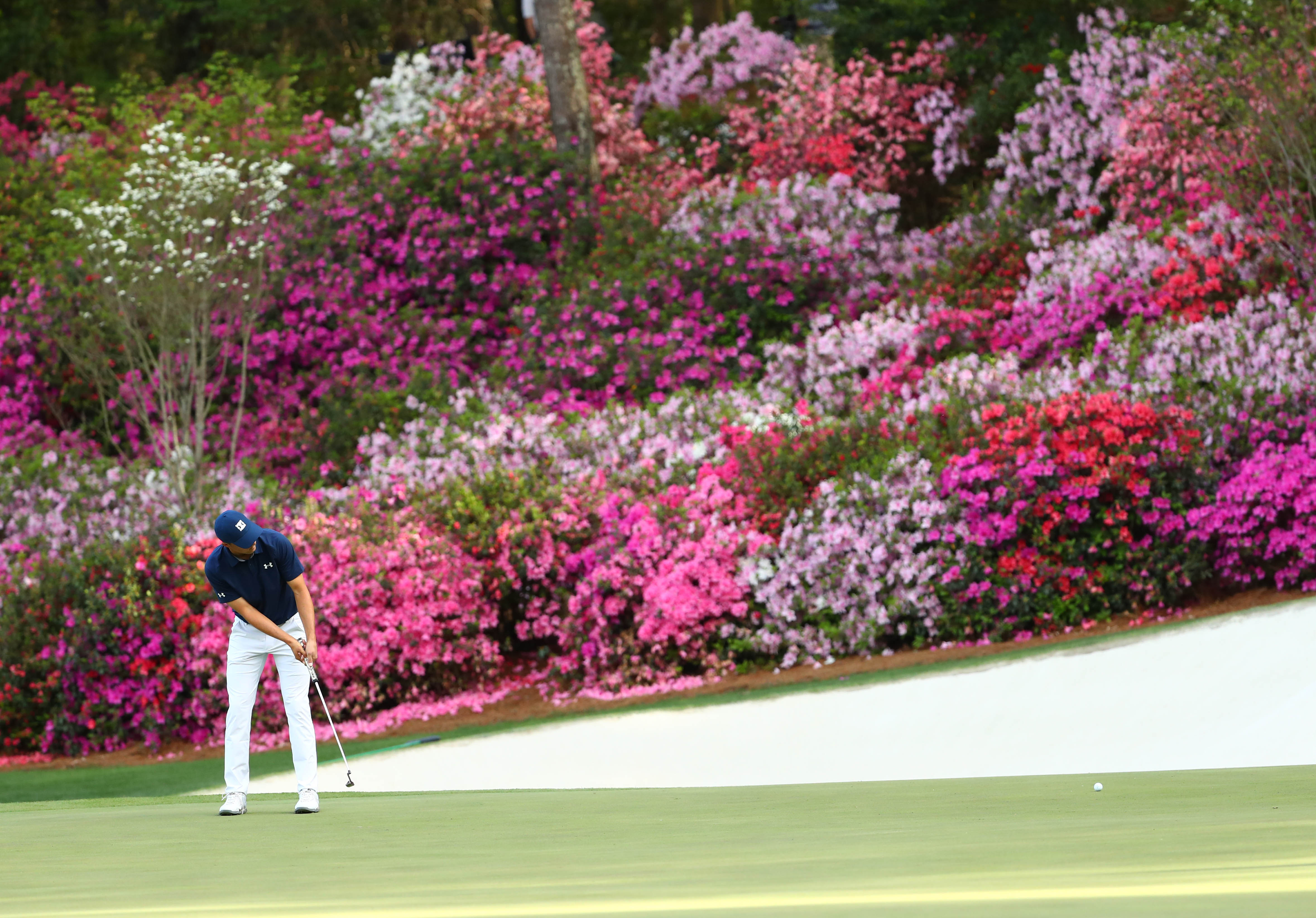 Apr 5, 2018; Augusta, GA, USA; Jordan Spieth putts on the 13th green during the first round of the Masters golf tournament at Augusta National Golf Club. Mandatory Credit: Rob Schumacher-USA TODAY Sports
