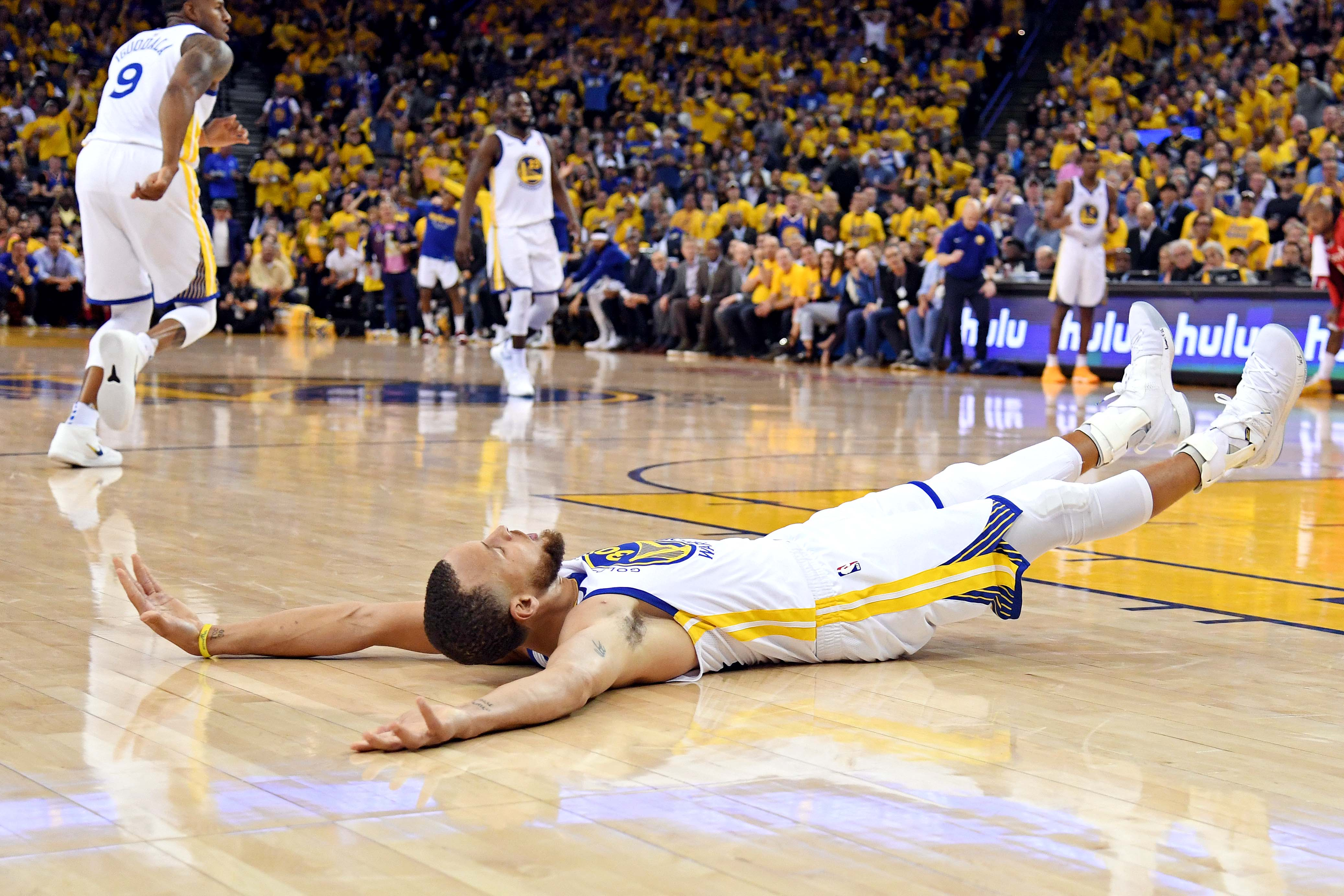 May 20, 2018; Oakland, CA, USA; Golden State Warriors guard Stephen Curry (30) reacts after a play during the third quarter against the Houston Rockets in game three of the Western conference finals of the 2018 NBA Playoffs at Oracle Arena. Mandatory Credit: Kyle Terada-USA TODAY Sports