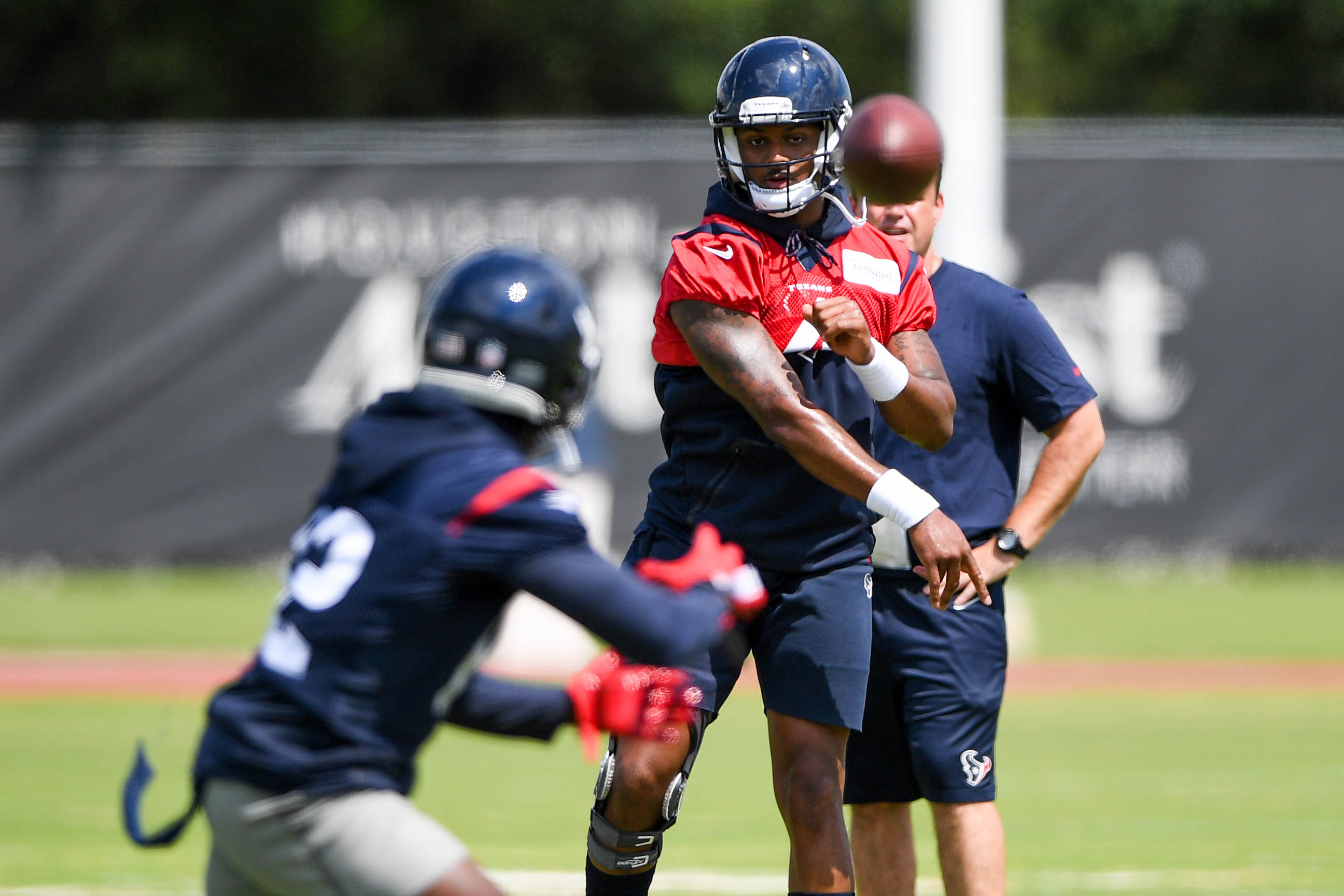 May 22, 2018; Houston, TX, USA; Houston Texans quarterback Deshaun Watson (4) throws a pass during organized team activities at the team outdoor practice facility in Houston, Texas. Mandatory Credit: Shanna Lockwood-USA TODAY Sports
