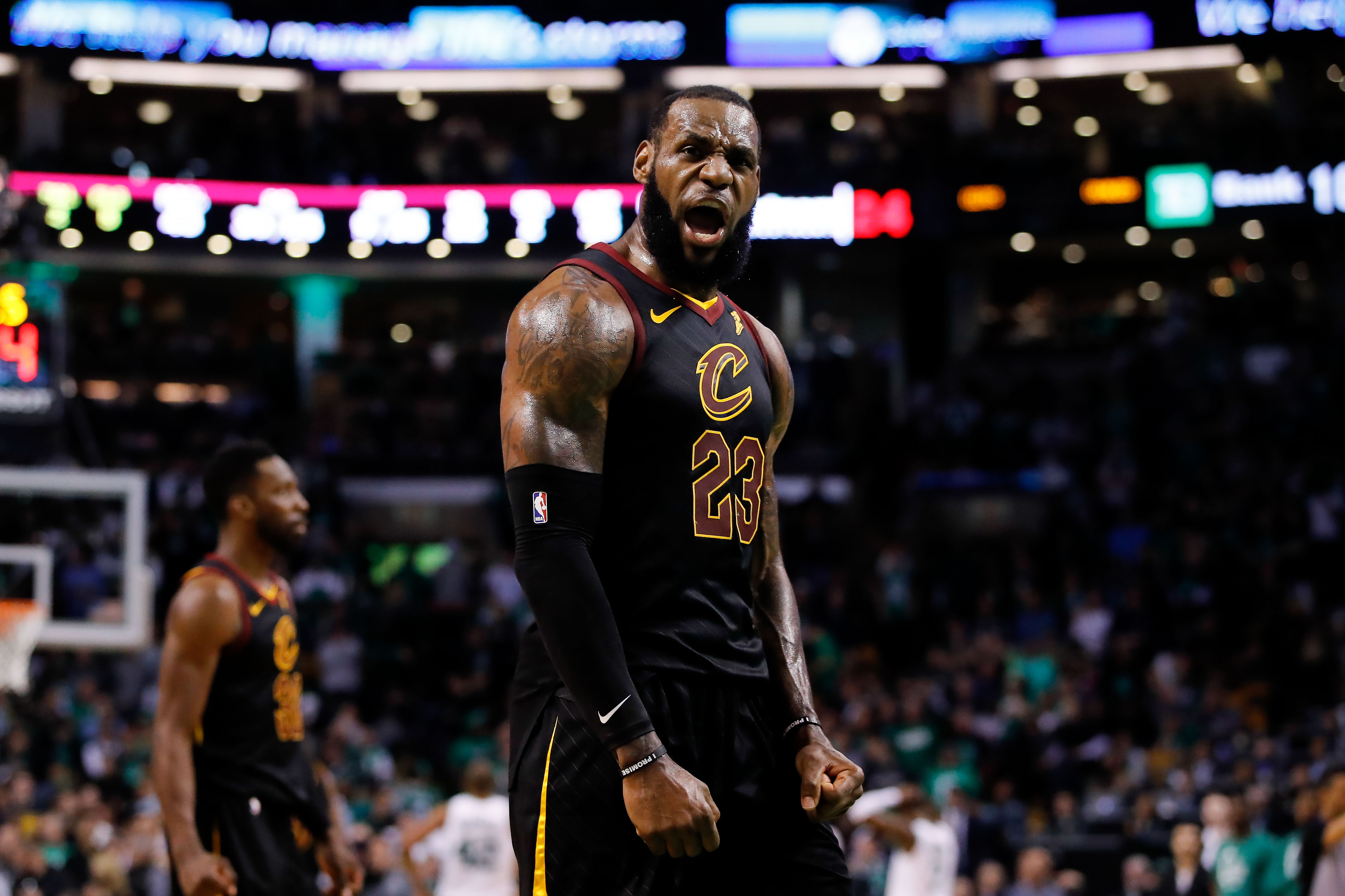 May 27, 2018; Boston, MA, USA; Cleveland Cavaliers forward LeBron James (23) celebrates after drawing foul against the Boston Celtics during the fourth quarter in game seven of the Eastern conference finals of the 2018 NBA Playoffs at TD Garden. Mandatory Credit: David Butler II-USA TODAY Sports
