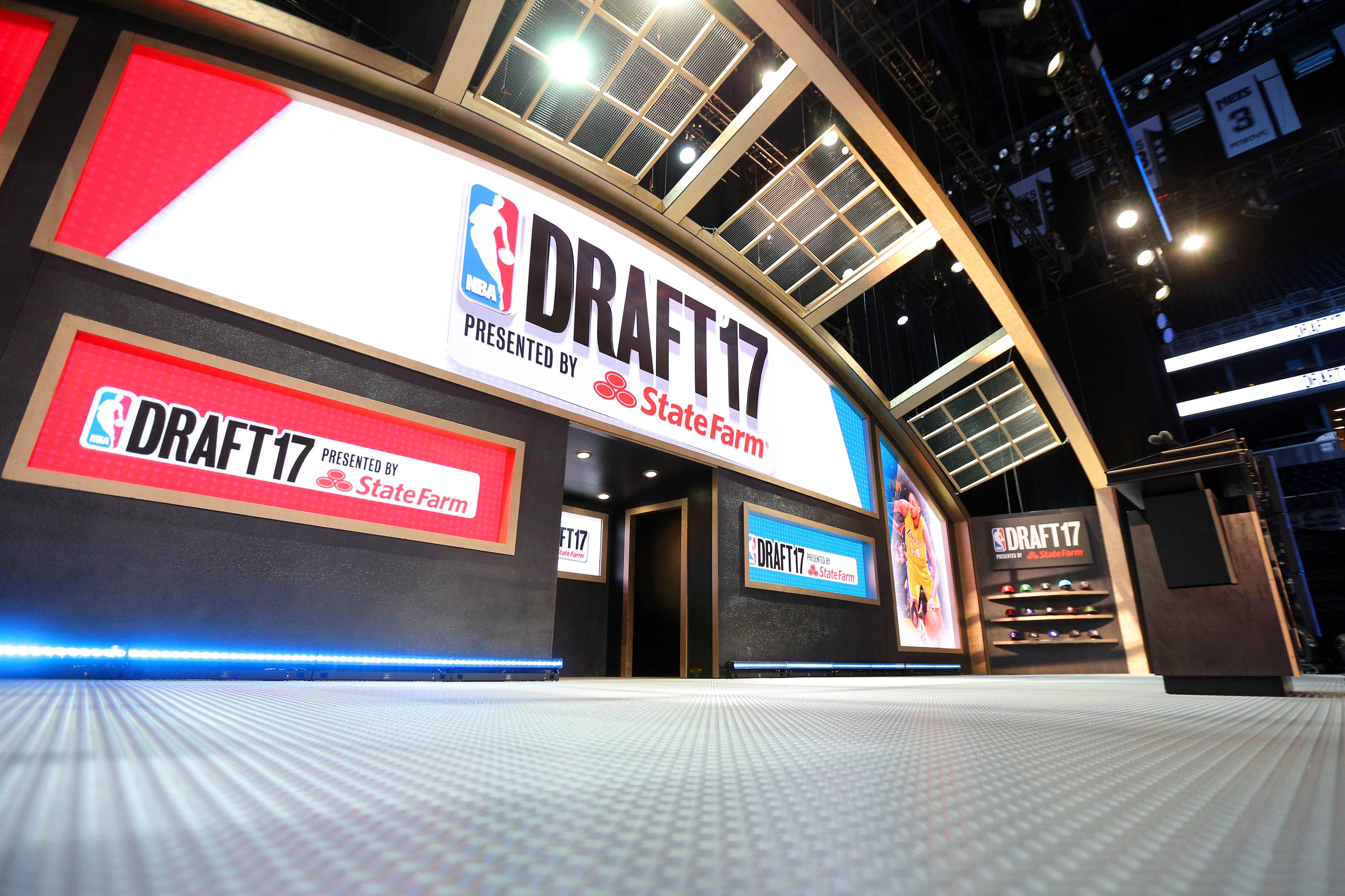 Jun 22, 2017; Brooklyn, NY, USA; General view of the stage before the 2017 NBA Draft at Barclays Center. Mandatory Credit: Brad Penner-USA TODAY Sports