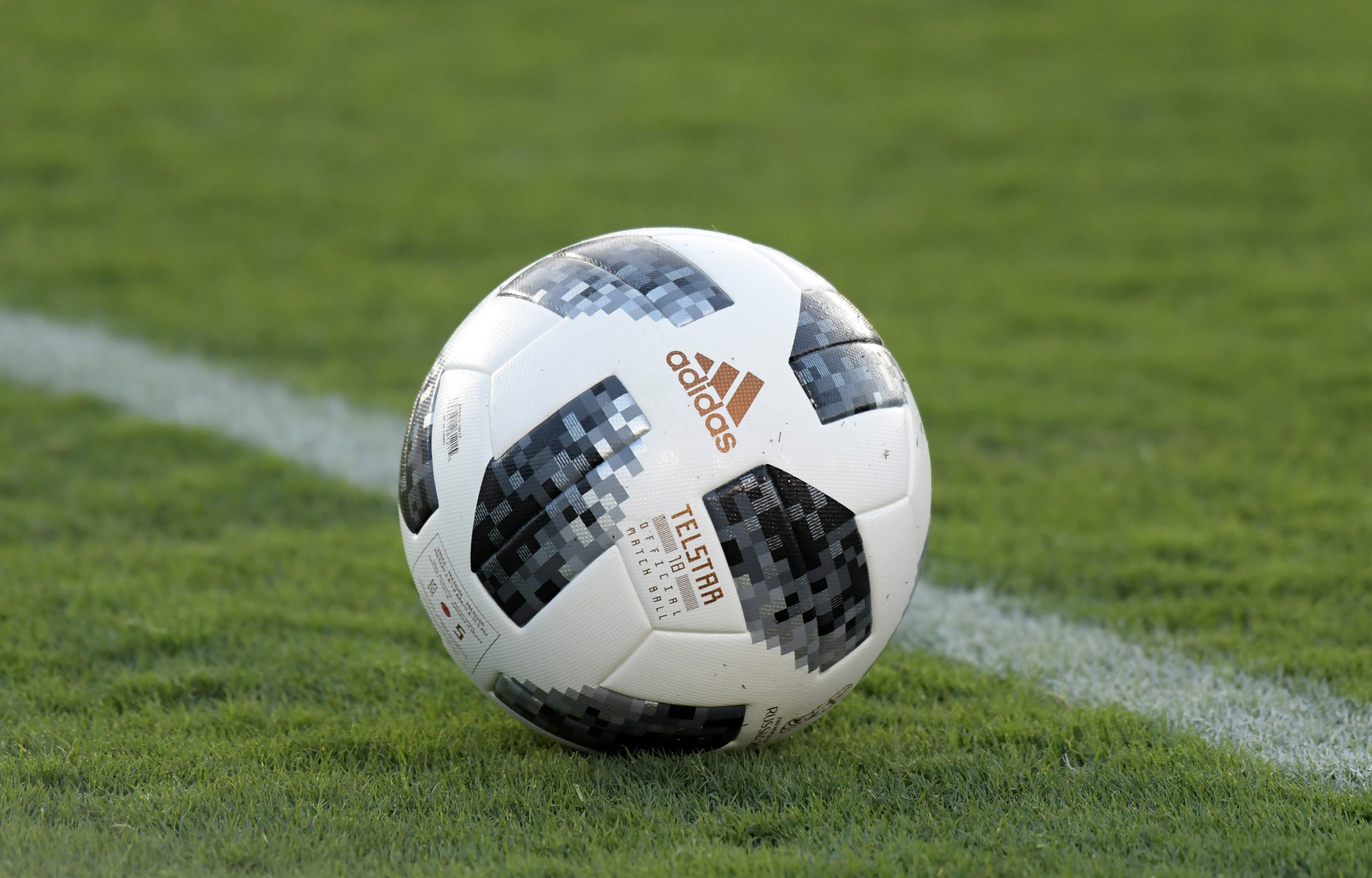 May 28, 2018; Pasadena, CA, USA; Detailed view of an Adidas telstar official FIFA World Cup Russia 2018 soccer ball on the field international friendly between Mexico and Wales at the Rose Bowl. The teams played to a 0-0 tie. Mandatory Credit: Kirby Lee-USA TODAY Sports