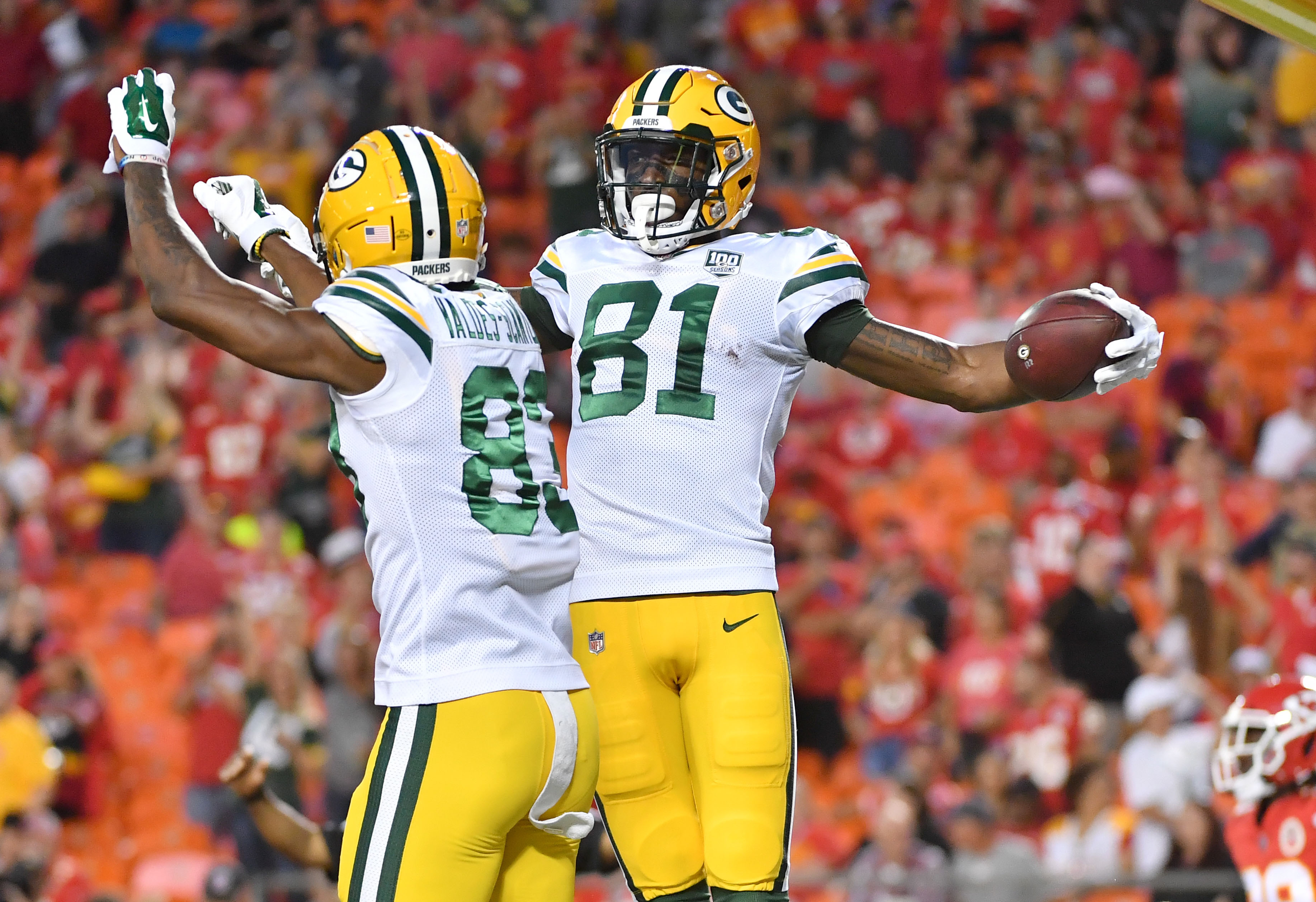 Aug 30, 2018; Kansas City, MO, USA; Green Bay Packers wide receiver Geronimo Allison (81) celebrates with wide receiver Marquez Valdes-Scantling (83) after scoring during the first half against the Kansas City Chiefs at Arrowhead Stadium. Mandatory Credit: Denny Medley-USA TODAY Sports