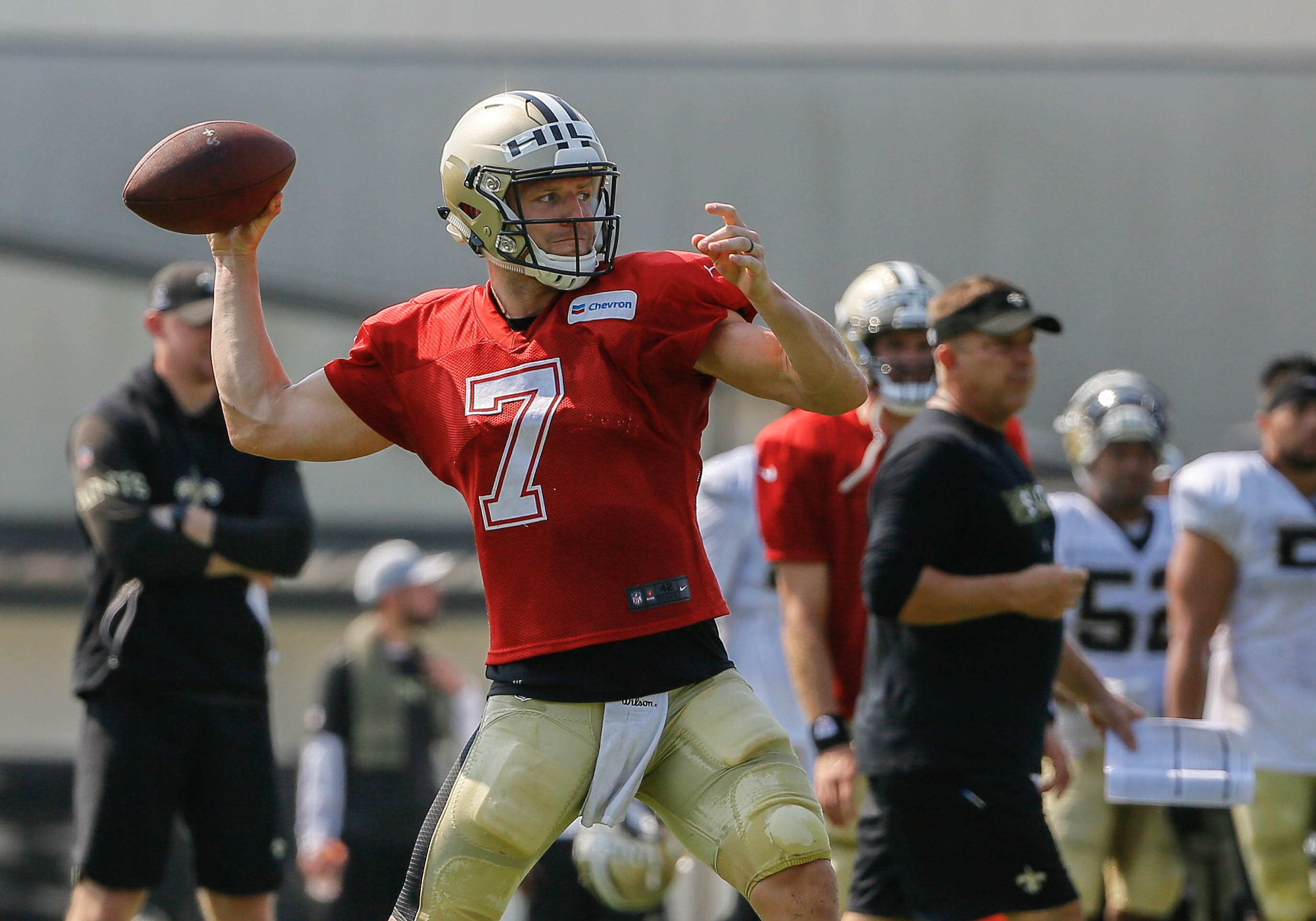 Jul 28, 2018; Metairie, LA, USA; New Orleans Saints quarterback Taysom Hill (7) during training camp at New Orleans Saints Training Facility. Mandatory Credit: Derick E. Hingle-USA TODAY Sports