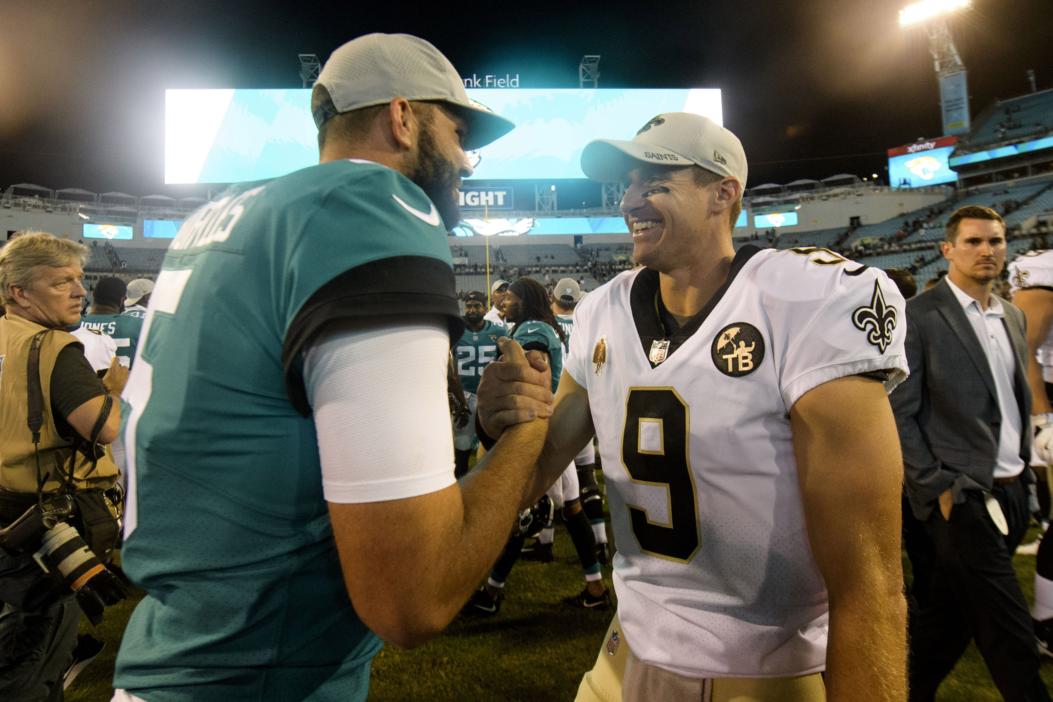 Aug 9, 2018; Jacksonville, FL, USA; Jacksonville Jaguars quarterback Blake Bortles (5) and New Orleans Saints quarterback Drew Brees (9) shake hands after their game at TIAA Bank Field. Mandatory Credit: Douglas DeFelice-USA TODAY Sports
