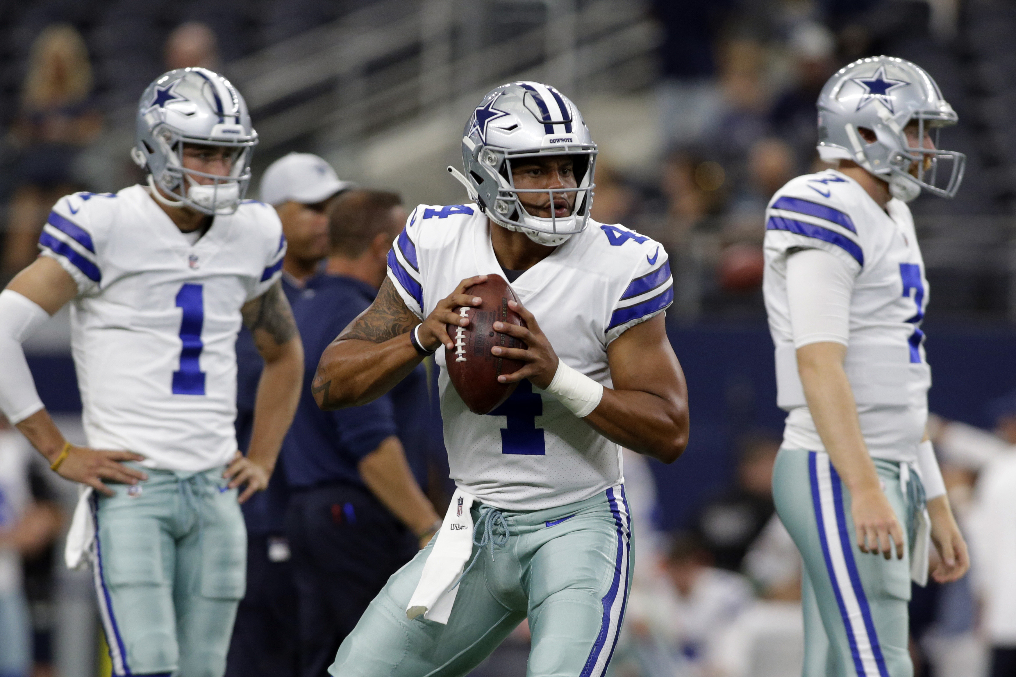 Aug 18, 2018; Arlington, TX, USA; Dallas Cowboys quarterback Dak Prescott (4) throws a pass during warm ups before the game against the Cincinnati Bengals at AT&T Stadium. Mandatory Credit: Tim Heitman-USA TODAY Sports