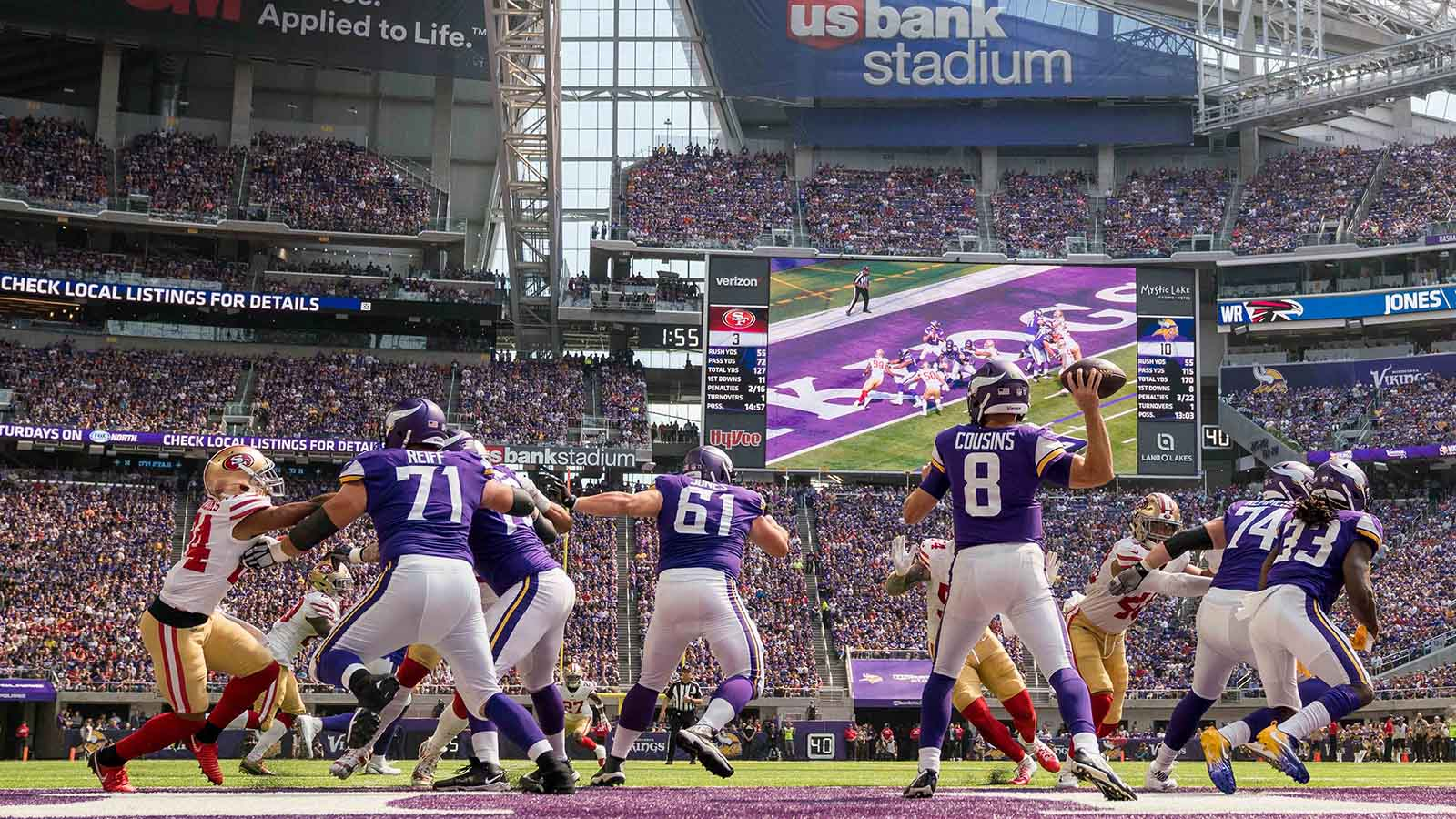 Sep 9, 2018; Minneapolis, MN, USA; Minnesota Vikings quarterback Kirk Cousins (8) passes in the second quarter against San Francisco 49ers at U.S. Bank Stadium. Mandatory Credit: Brad Rempel-USA TODAY Sports