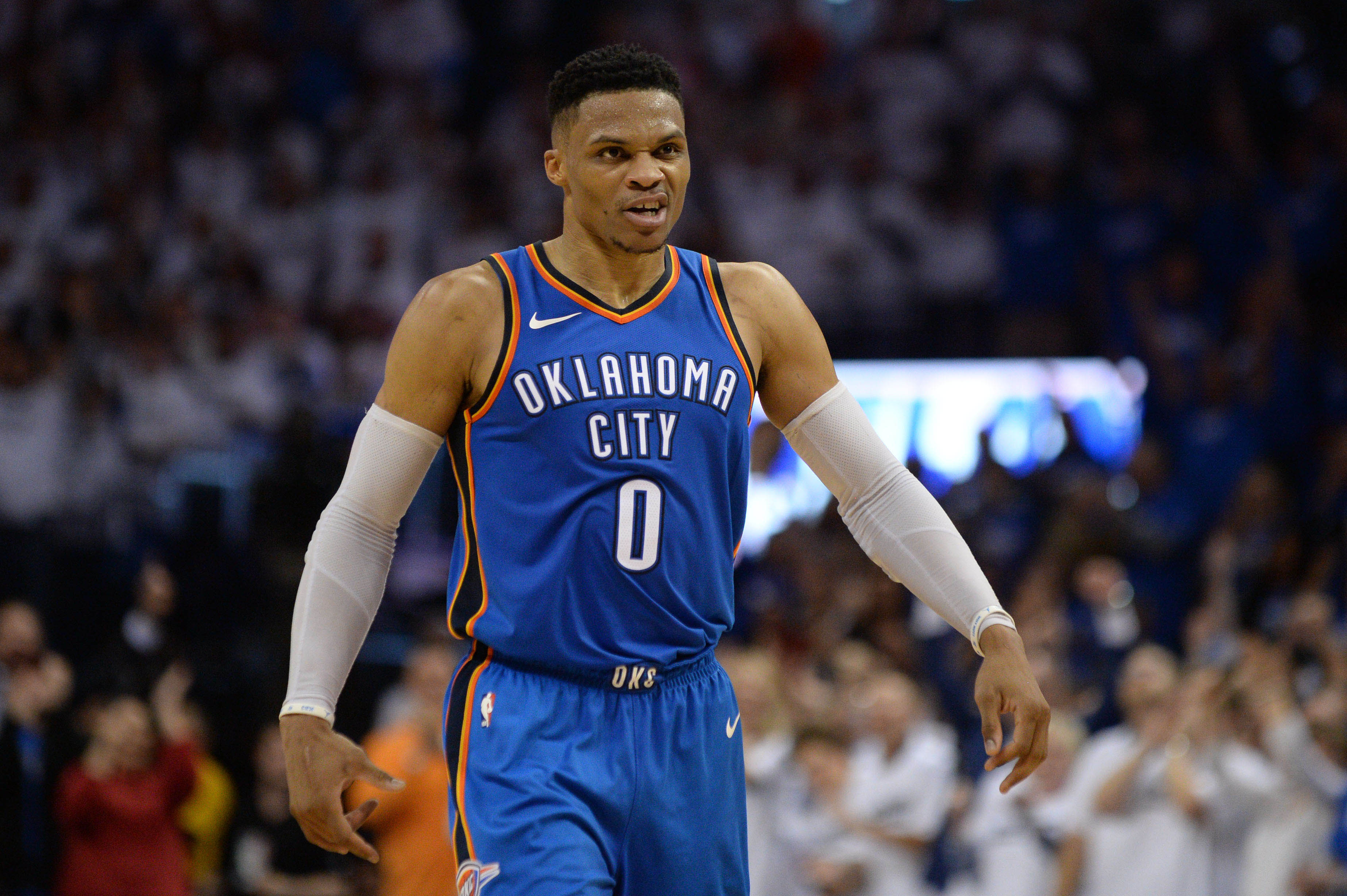 Apr 25, 2018; Oklahoma City, OK, USA; Oklahoma City Thunder guard Russell Westbrook (0) reacts after a play against the Utah Jazz during the fourth quarter in game five of the first round of the 2018 NBA Playoffs at Chesapeake Energy Arena. Mandatory Credit: Mark D. Smith-USA TODAY Sports