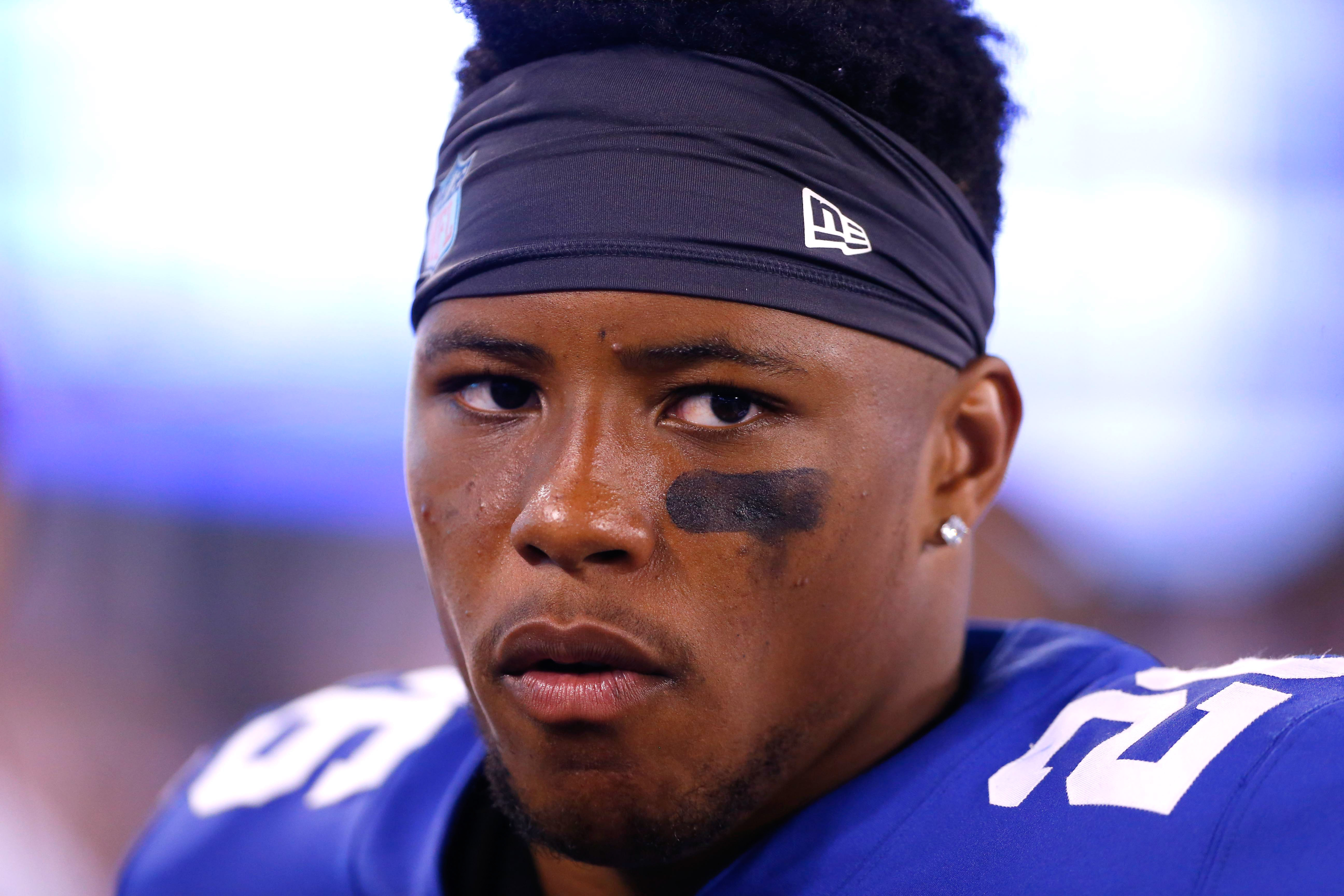 Aug 9, 2018; East Rutherford, NJ, USA; New York Giants running back Saquon Barkley (26) during first half against Cleveland Browns at MetLife Stadium. Mandatory Credit: Noah K. Murray-USA TODAY Sports