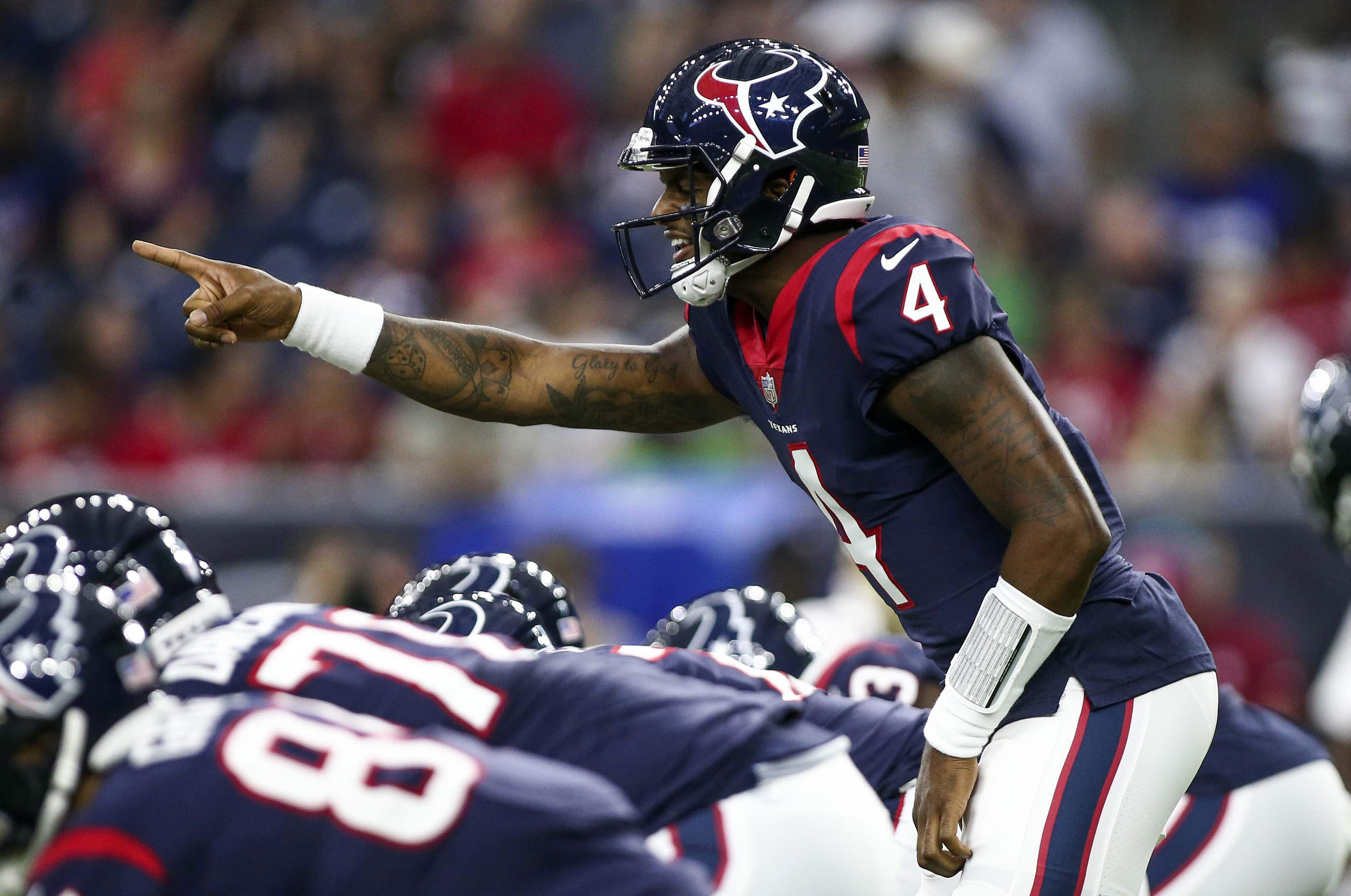 Aug 18, 2018; Houston, TX, USA; Houston Texans quarterback Deshaun Watson (4) callas a play at the line of scrimmage during the first quarter against the San Francisco 49ers at NRG Stadium. Mandatory Credit: Troy Taormina-USA TODAY Sports