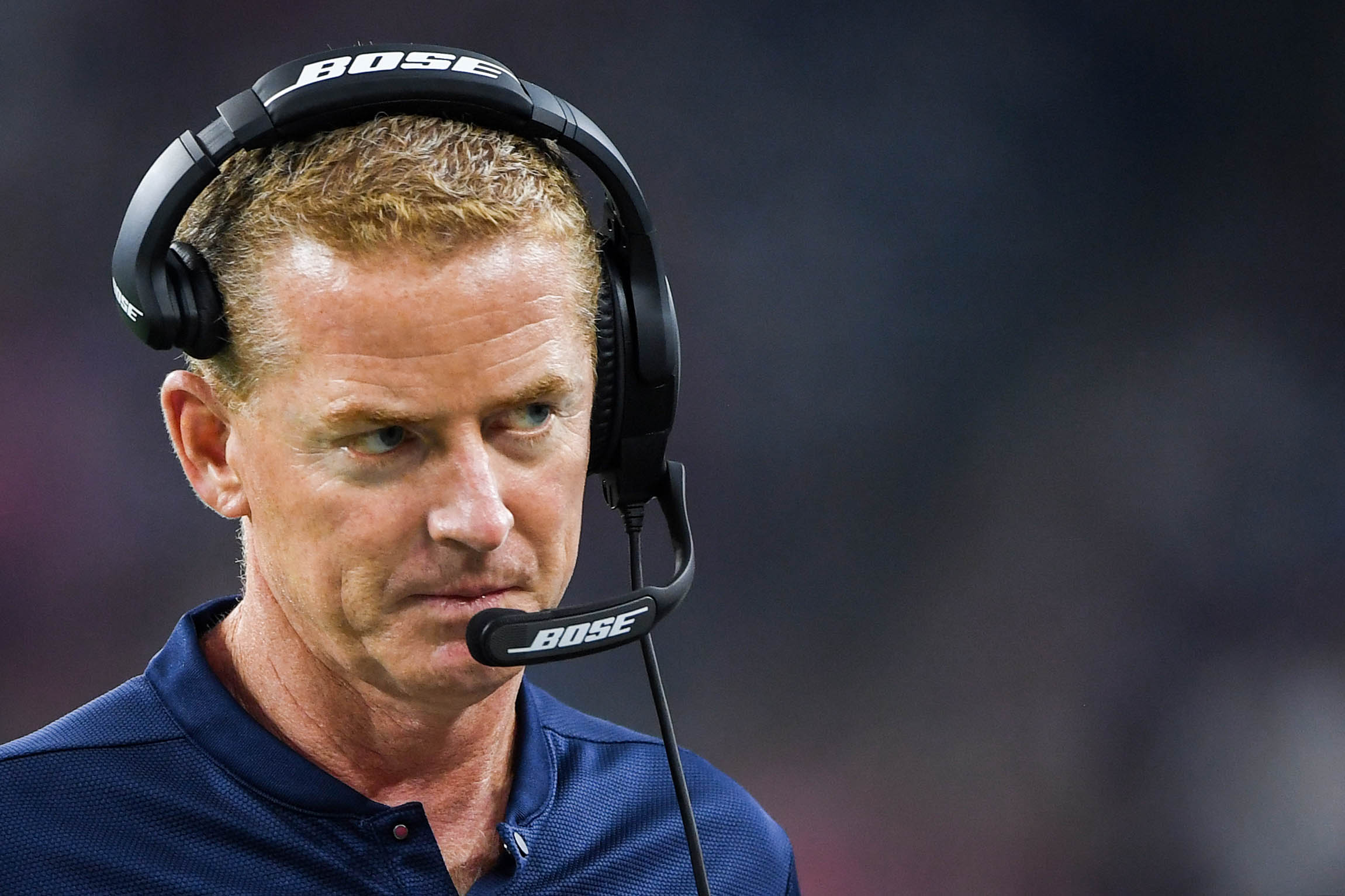 Aug 30, 2018; Houston, TX, USA; Dallas Cowboys head coach Jason Garrett looks on during the first quarter against the Houston Texans at NRG Stadium. Mandatory Credit: Shanna Lockwood-USA TODAY Sports