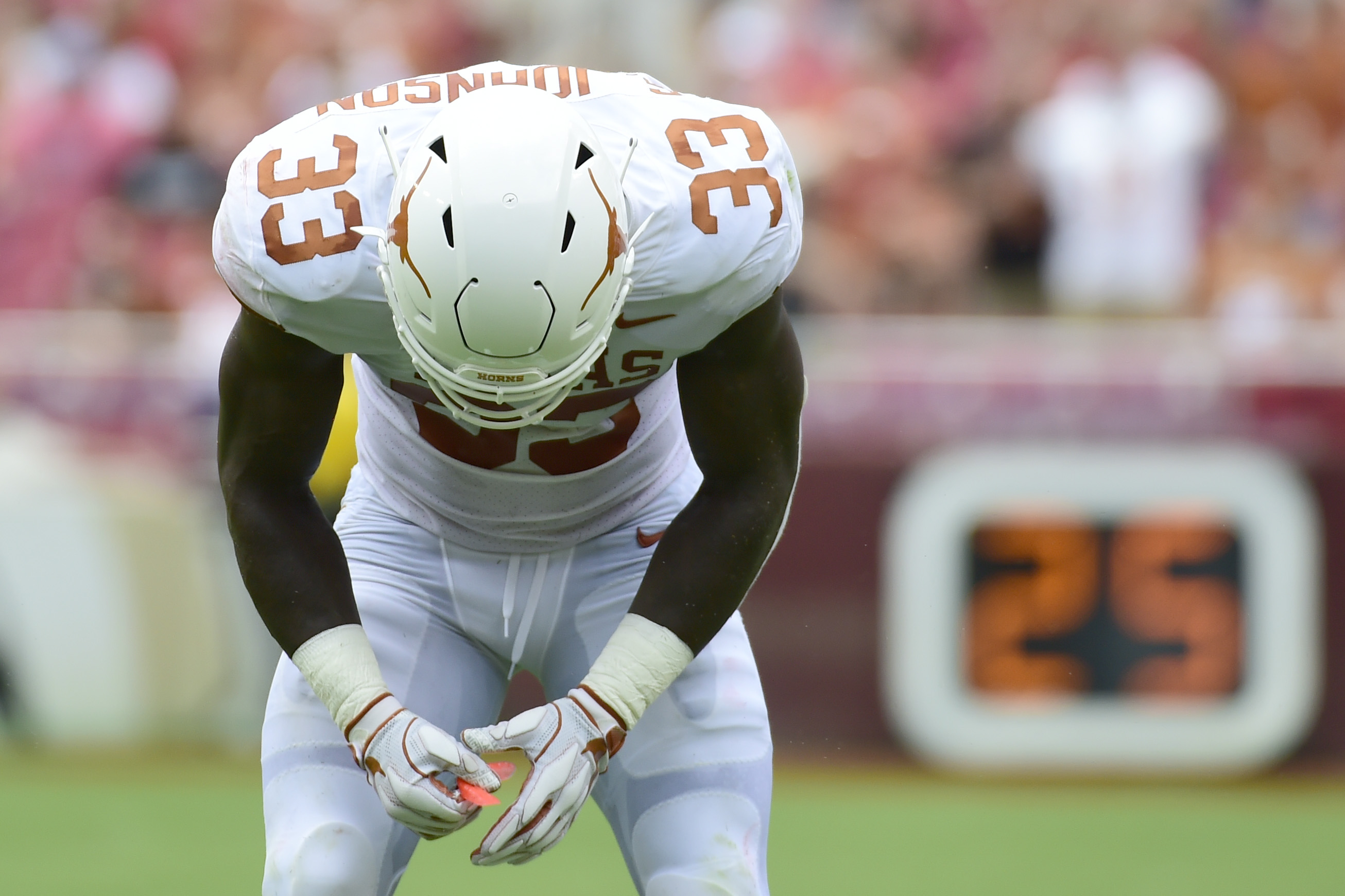 Sep 1, 2018; Landover, MD, USA;  Texas Longhorns linebacker Gary Johnson (33) reacts after being ejected from the game for targeting during the first quarter  against the Maryland Terrapins at FedEx Field. Mandatory Credit: Tommy Gilligan-USA TODAY Sports