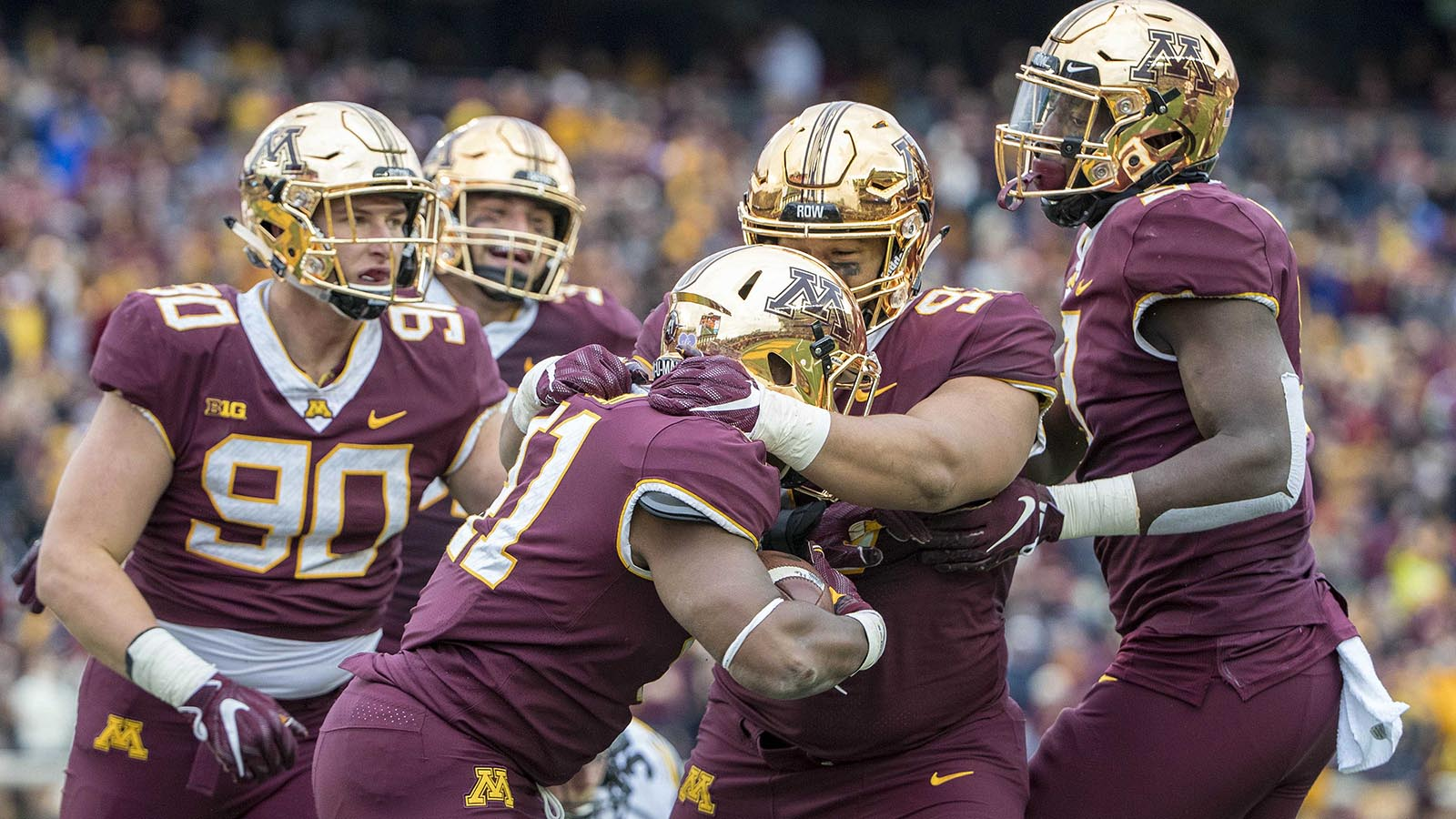 Oct 6, 2018; Minneapolis, MN, USA; Minnesota Golden Gophers linebacker Thomas Barber (41) celebrates with team mates after picking up a fumble in the second half against the Iowa Hawkeyes at TCF Bank Stadium. Mandatory Credit: Jesse Johnson-USA TODAY Sports