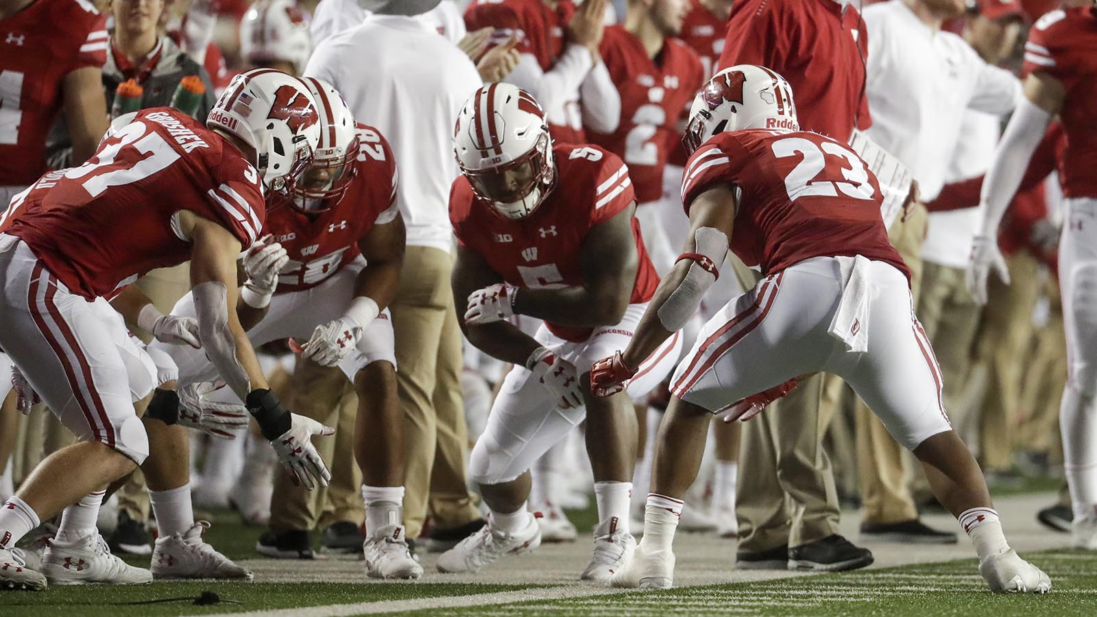 Wisconsin's Jonathan Taylor celebrates his touchdown run with his Badgers. teammates during the first half against Nebraska. of an NCAA college football game against Nebraska Saturday, Oct. 6, 2018, in Madison, Wis. (AP Photo/Morry Gash)
