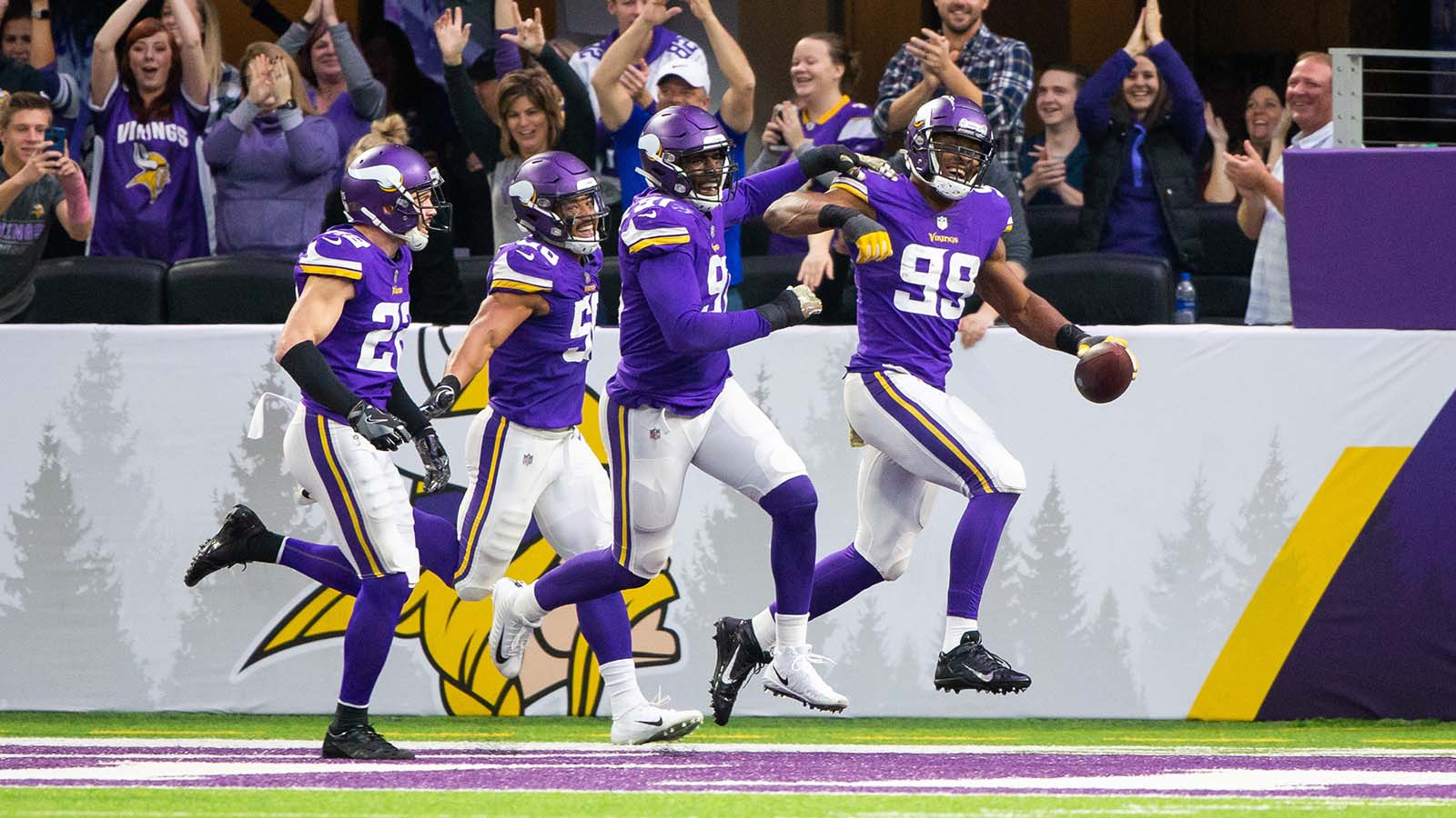 Nov 4, 2018; Minneapolis, MN, USA; Minnesota Vikings defensive lineman Danielle Hunter (99) celebrates after a fumble recovery for a touchdown in the fourth quarter against the Detroit Lions at U.S. Bank Stadium. Mandatory Credit: Brad Rempel-USA TODAY Sports