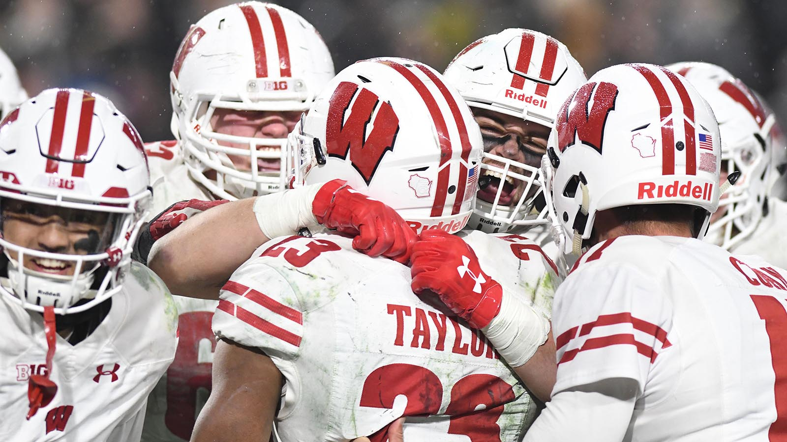 Nov 17, 2018; West Lafayette, IN, USA; The Wisconsin Badgers celebrate after defeating the Purdue Boilermakers, 47-44, in triple overtime at Ross-Ade Stadium. Mandatory Credit: Thomas J. Russo-USA TODAY Sports