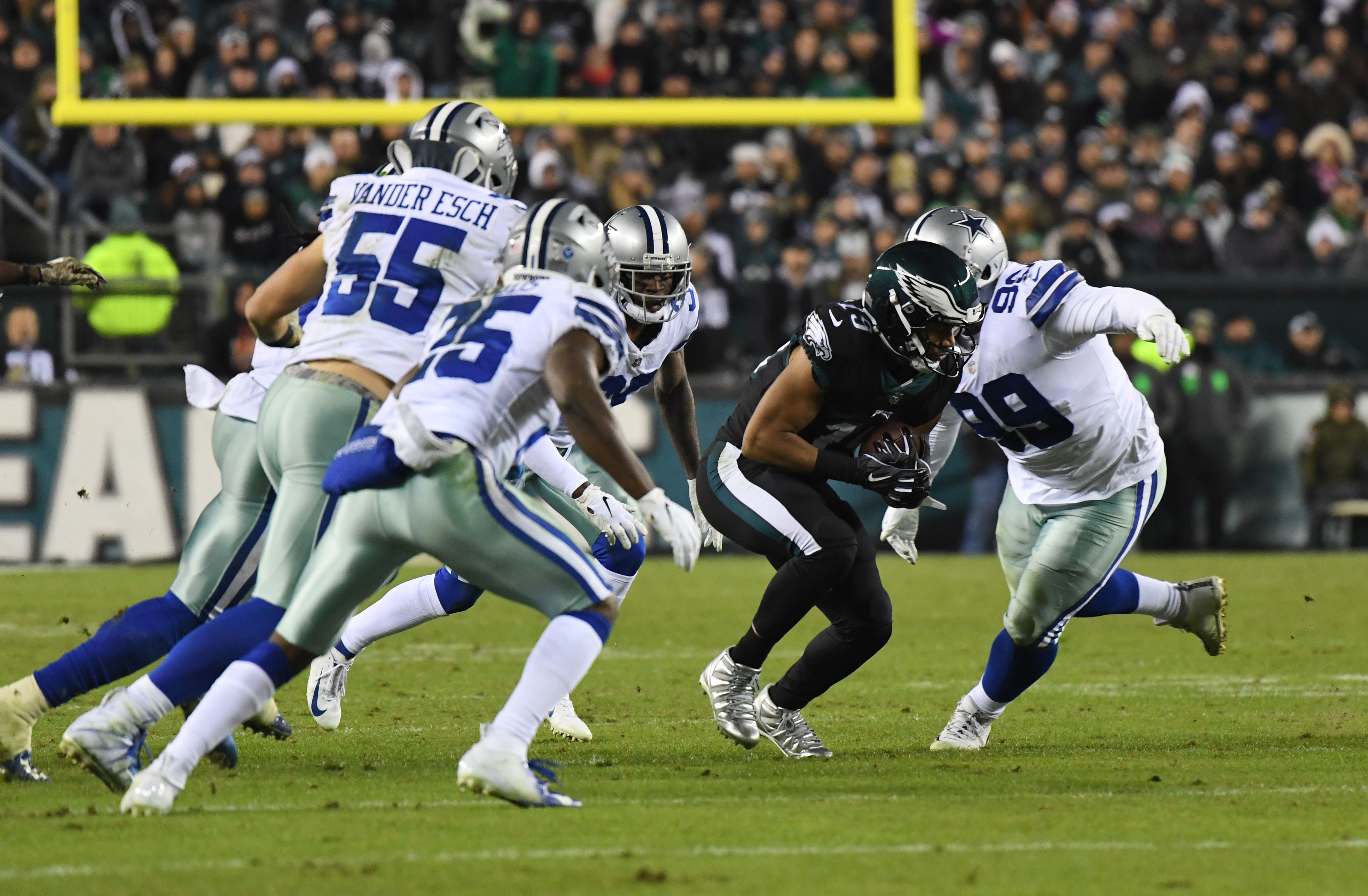Nov 11, 2018; Philadelphia, PA, USA; Philadelphia Eagles wide receiver Golden Tate (19) is tackled by Dallas Cowboys defensive tackle Antwan Woods (99) in the fourth quarter at Lincoln Financial Field. Mandatory Credit: James Lang-USA TODAY Sports