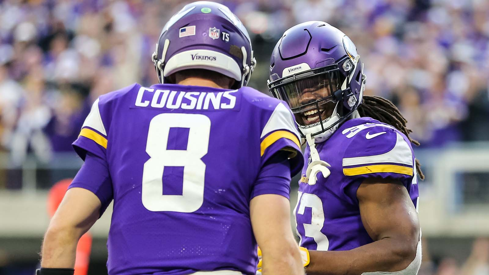 Dec 16, 2018; Minneapolis, MN, USA; Minnesota Vikings running back Dalvin Cook (33) celebrates with quarterback Kirk Cousins (8) during the fourth quarter against the Miami Dolphins at U.S. Bank Stadium. Mandatory Credit: Brace Hemmelgarn-USA TODAY Sports