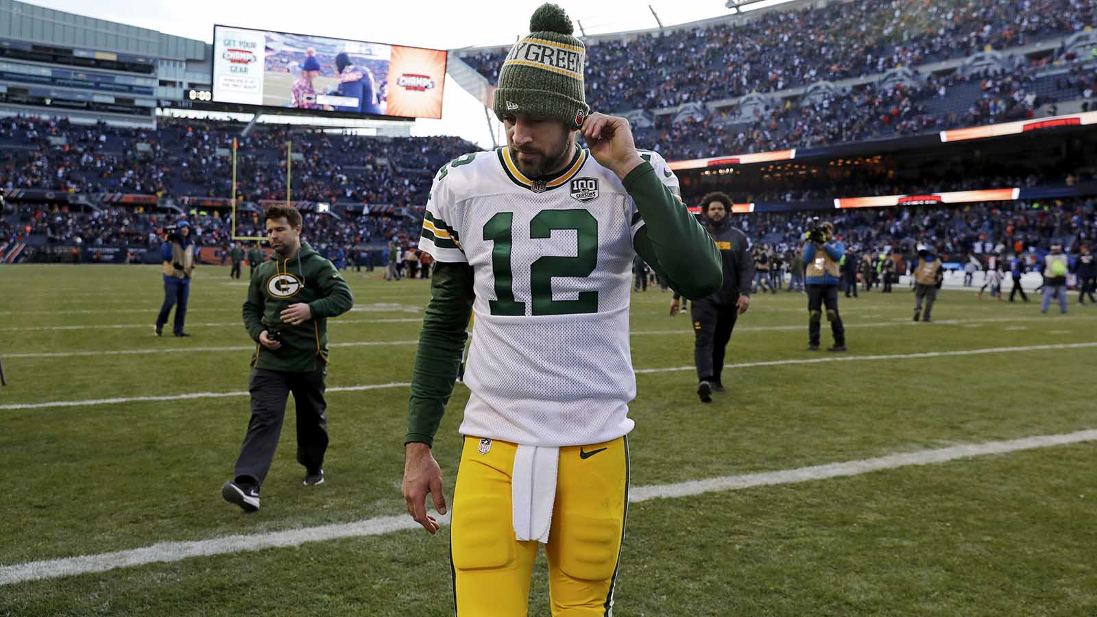 Green Bay Packers quarterback Aaron Rodgers (12) leaves the field after an NFL football game against the Chicago Bears Sunday, Dec. 16, 2018, in Chicago. The Bears won 24-17. (AP Photo/Nam Y. Huh)