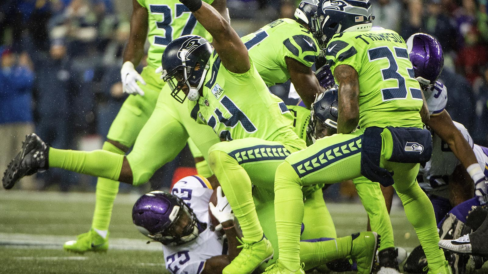 Seattle Seahawks linebacker Bobby Wagner stops Minnesota Vikings running back Latavius Murray (25) on a fourth-and-one run to force a turnover on downs in the third quarter of an NFL football game at CenturyLink Field in Seattle, Wash., on Monday, Dec. 10, 2018. (Joshua Bessex/The News Tribune via AP)