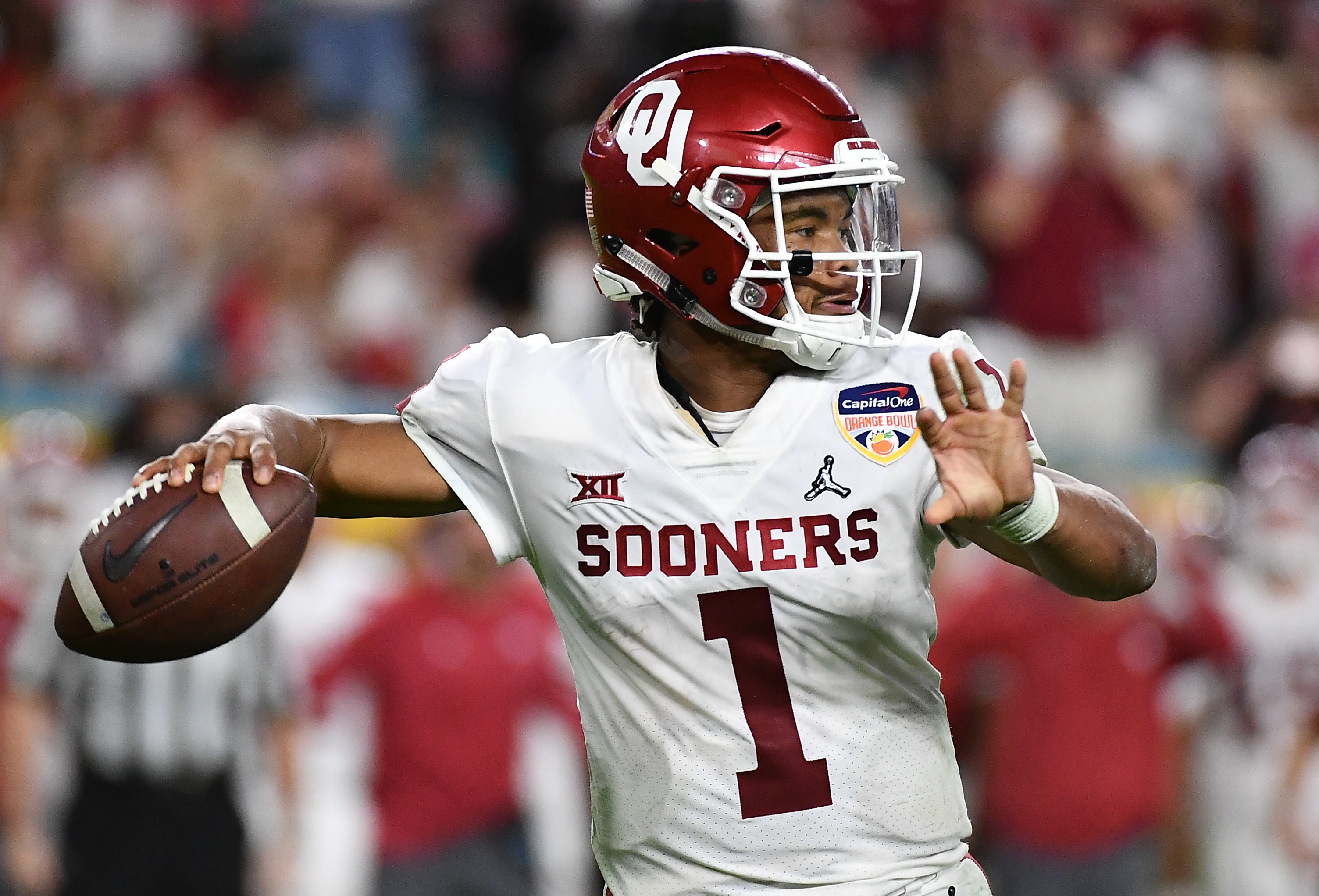 Dec 29, 2018; Miami Gardens, FL, USA; Oklahoma Sooners quarterback Kyler Murray (1) throws against the Alabama Crimson Tide during the fourth quarter of the 2018 Orange Bowl college football playoff semifinal game at Hard Rock Stadium. Mandatory Credit: Jasen Vinlove-USA TODAY Sports