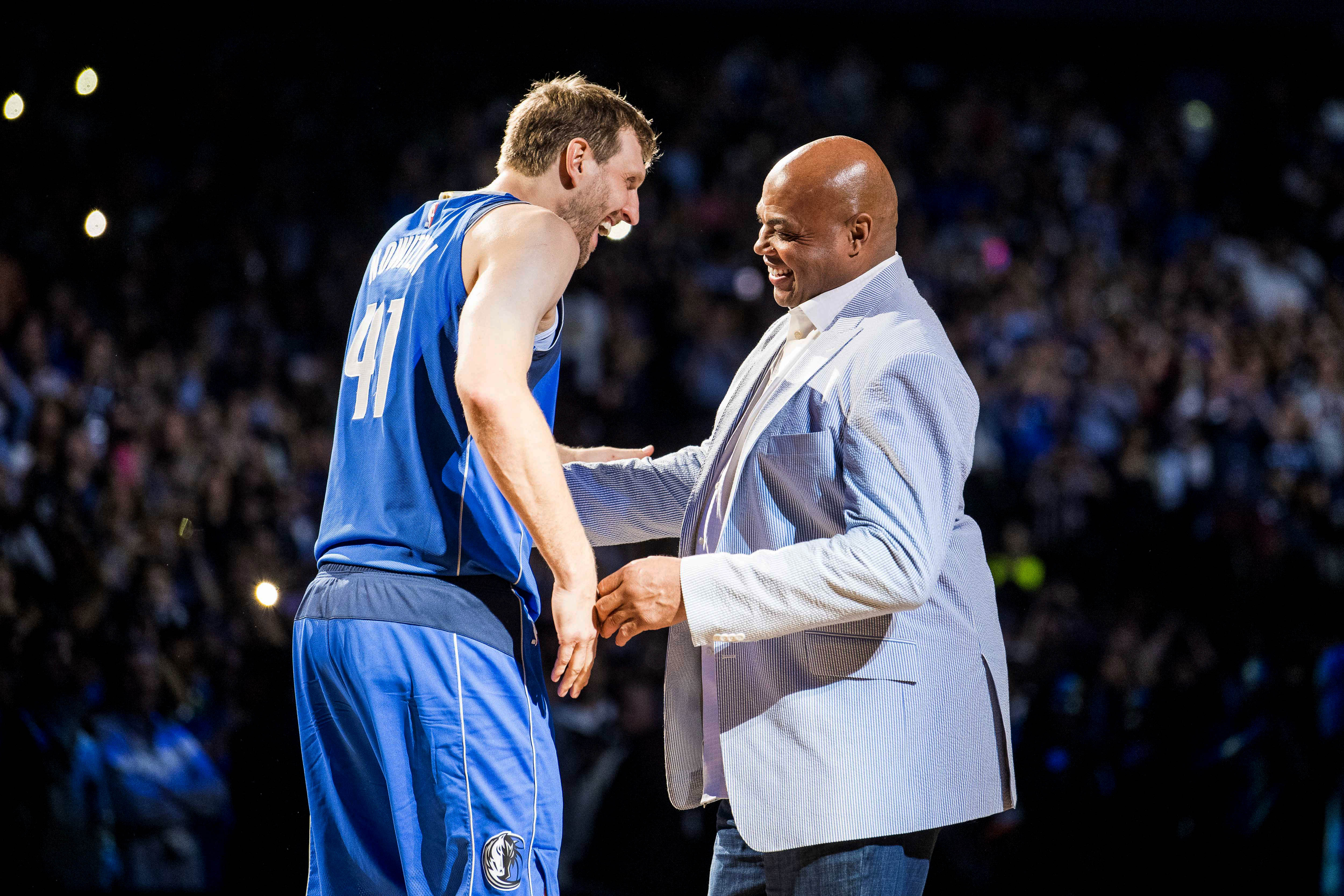 Apr 9, 2019; Dallas, TX, USA; Dallas Mavericks forward Dirk Nowitzki (41) greets former player Charles Barkley after a game against the Phoenix Suns at the American Airlines Center. Mandatory Credit: Jerome Miron-USA TODAY Sports