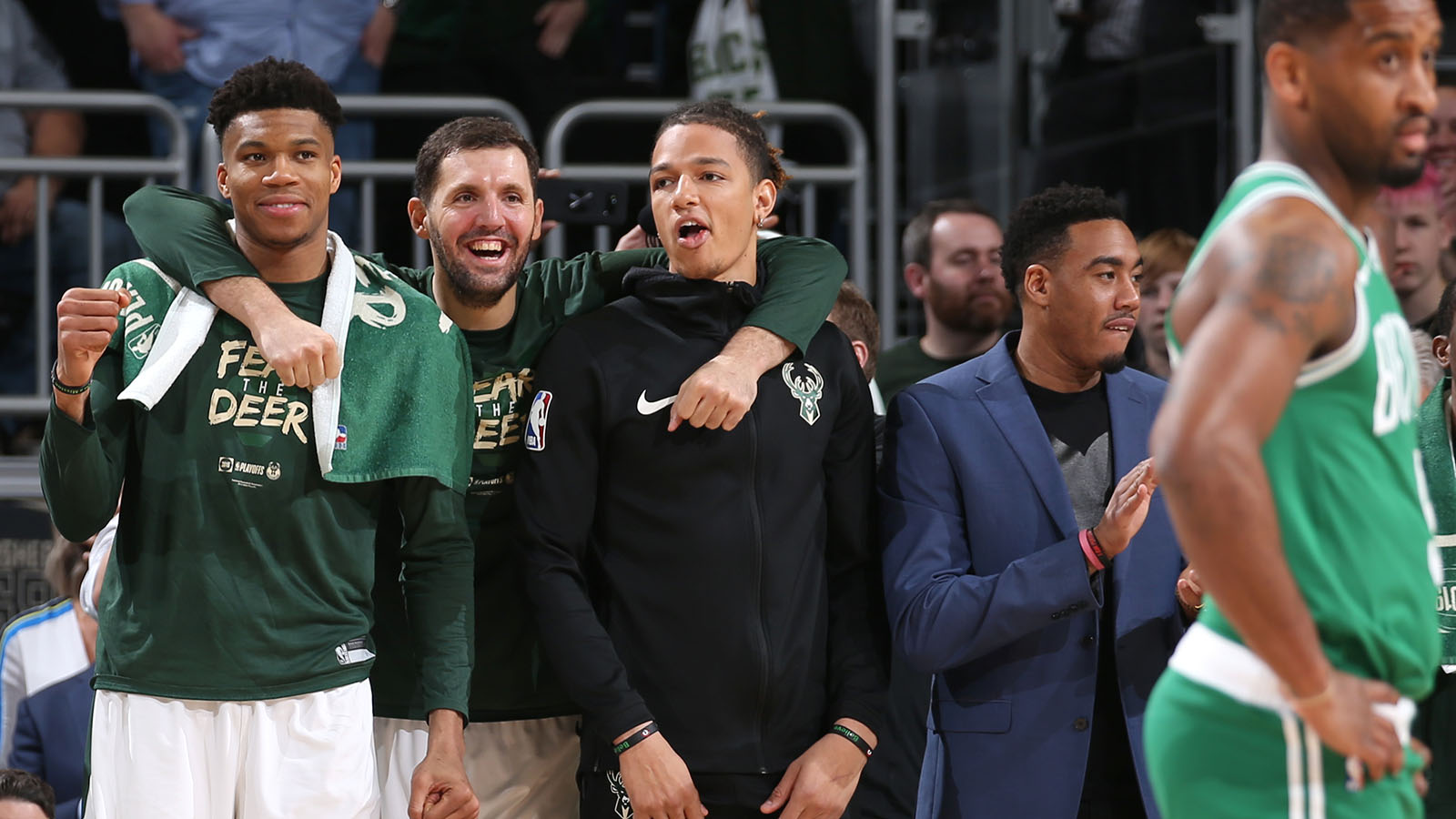 MILWAUKEE, WI - MAY 8: Giannis Antetokounmpo #34, Nikola Mirotic #41, and D.J. Wilson #5 of the Milwaukee Bucks look on against the Boston Celtics during Game Five of the Eastern Conference Semifinals of the 2019 NBA Playoffs on May 8, 2019 at the Fiserv Forum in Milwaukee, Wisconsin. NOTE TO USER: User expressly acknowledges and agrees that, by downloading and/or using this photograph, user is consenting to the terms and conditions of the Getty Images License Agreement. Mandatory Copyright Notice: Copyright 2019 NBAE (Photo by Gary Dineen/NBAE via Getty Images)