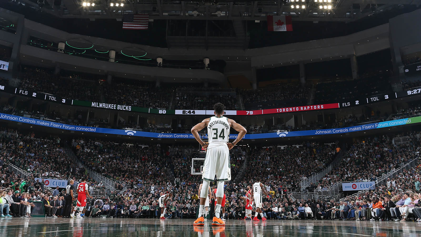 MILWAUKEE, WI - MAY 23: Giannis Antetokounmpo #34 of the Milwaukee Bucks looks on against the Toronto Raptors during Game Five of the Eastern Conference Finals of the 2019 NBA Playoffs on May 23, 2019 at the Fiserv Forum Center in Milwaukee, Wisconsin. NOTE TO USER: User expressly acknowledges and agrees that, by downloading and or using this Photograph, user is consenting to the terms and conditions of the Getty Images License Agreement. Mandatory Copyright Notice: Copyright 2019 NBAE (Photo by Nathaniel S. Butler/NBAE via Getty Images).