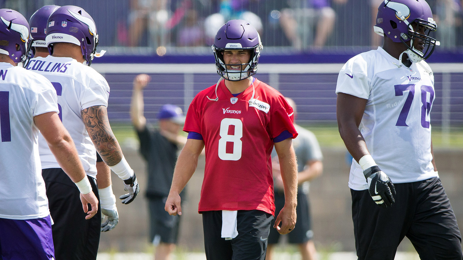 Jul 28, 2018; Eagan, MN, USA; Minnesota Vikings quarterback Kirk Cousins (8) at Vikings training camp at TCO Performance Center. Mandatory Credit: Brad Rempel-USA TODAY Sports