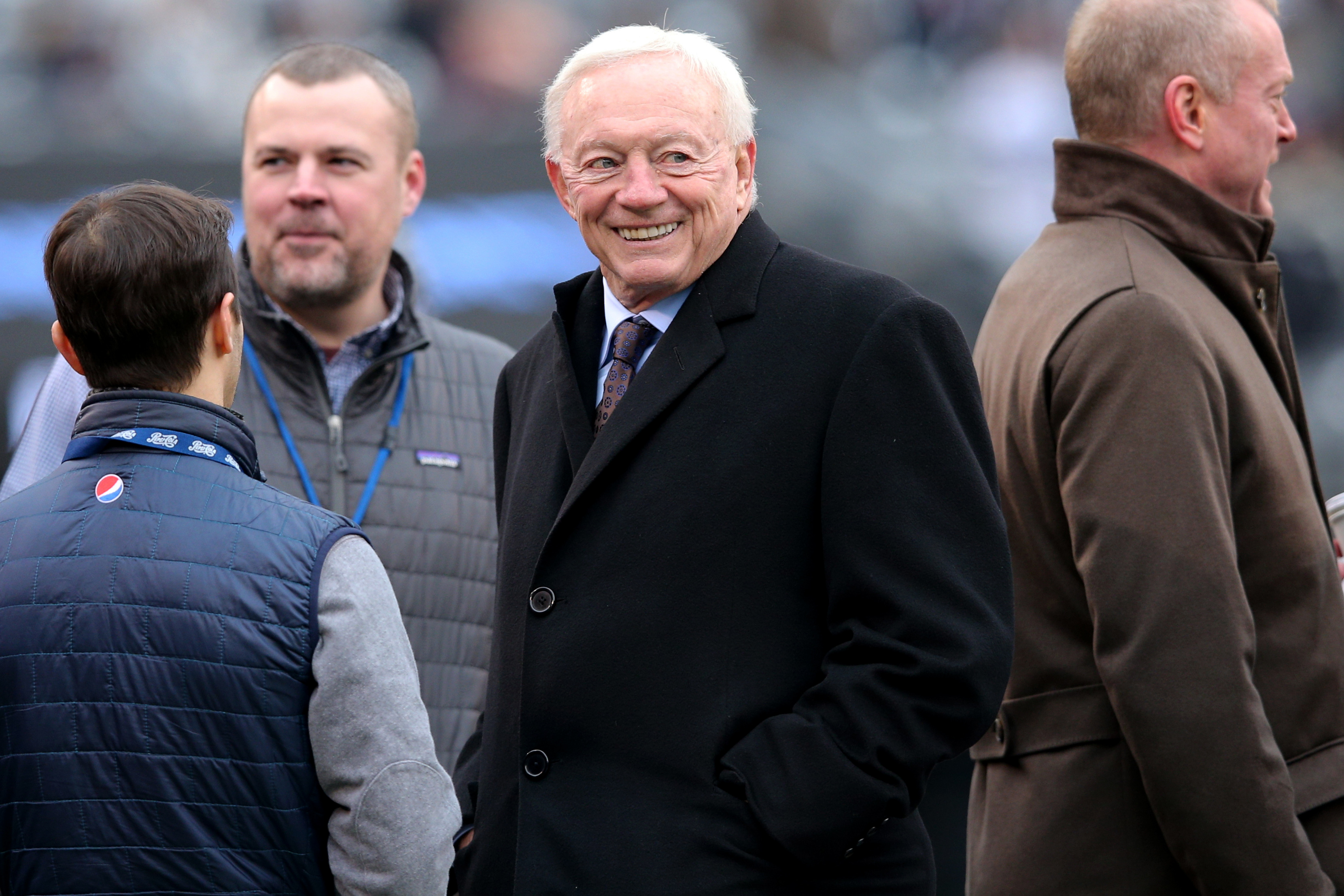 Dec 30, 2018; East Rutherford, NJ, USA; Dallas Cowboys owner Jerry Jones (middle) looks on from the sidelines before a game against the New York Giants at MetLife Stadium. Mandatory Credit: Brad Penner-USA TODAY Sports