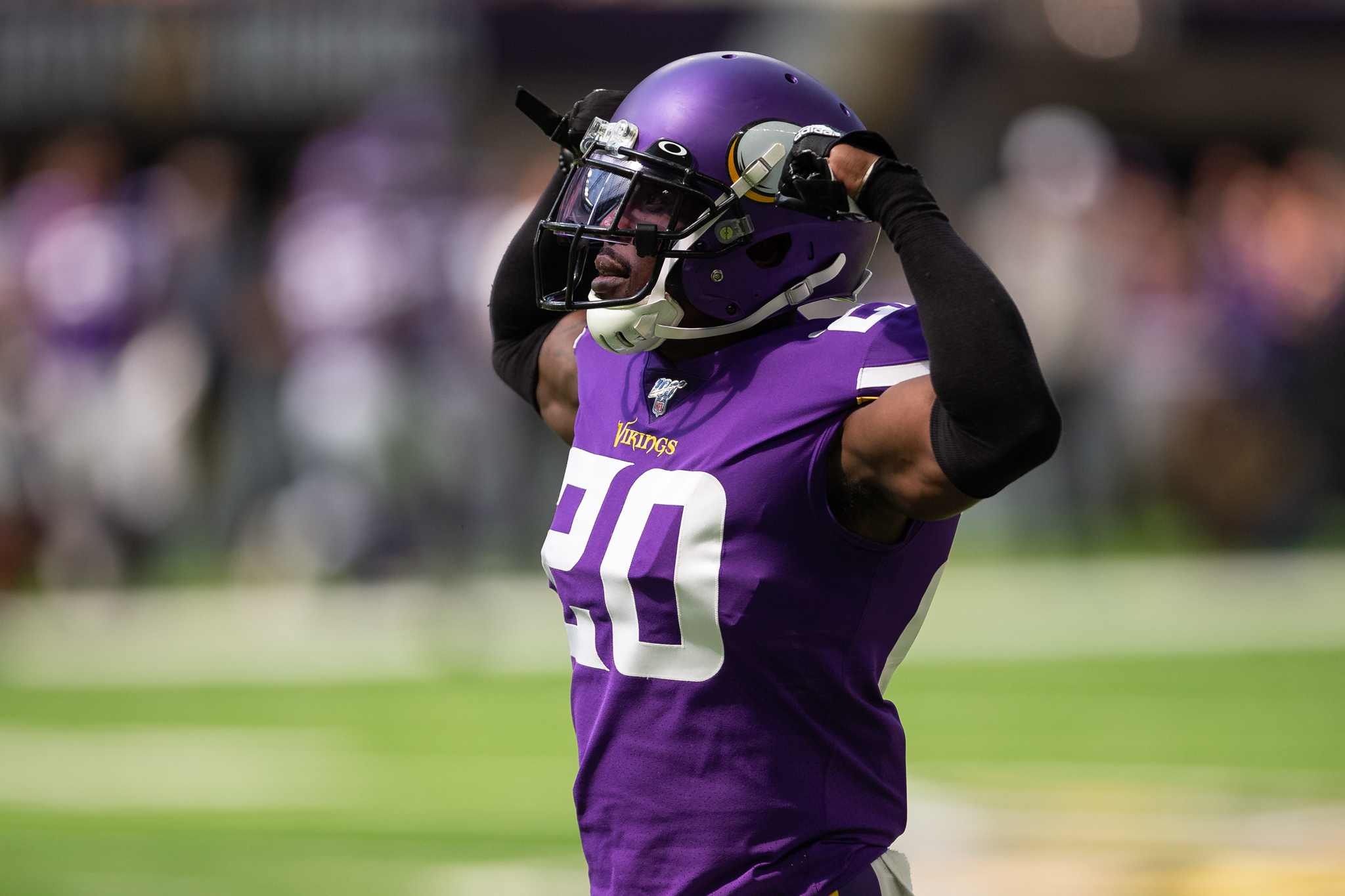 Aug 24, 2019; Minneapolis, MN, USA; Minnesota Vikings cornerback Mackensie Alexander (20) reacts after making a play during the first quarter against the Arizona Cardinals at U.S. Bank Stadium. Mandatory Credit: Harrison Barden-USA TODAY Sports