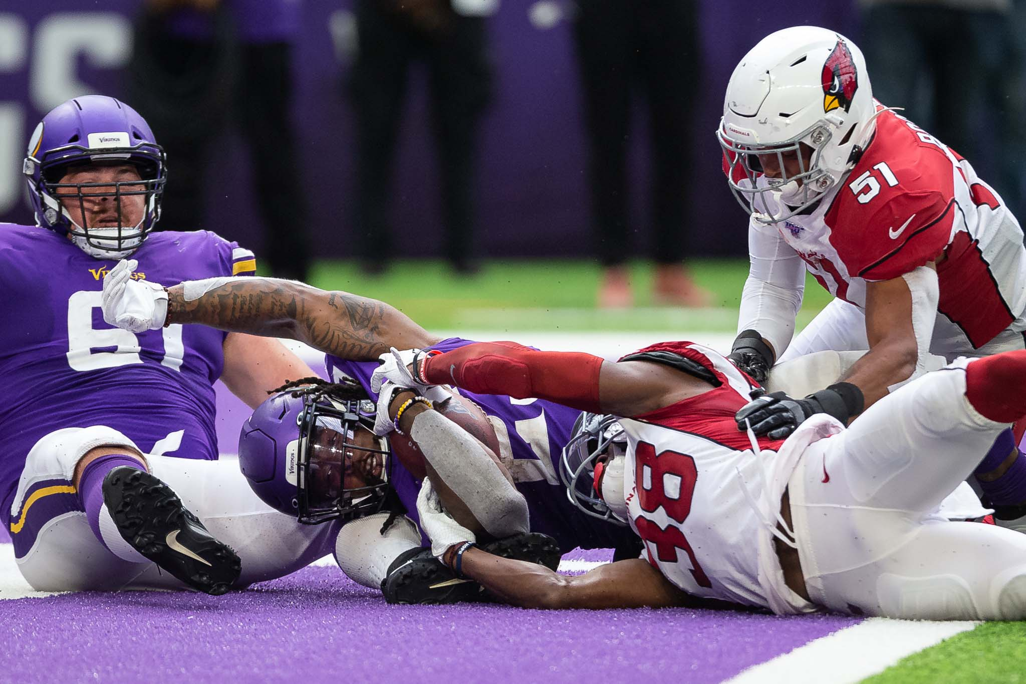 Aug 24, 2019; Minneapolis, MN, USA; Minnesota Vikings running back Mike Boone (23) scores a touchdown during the third quarter against the Arizona Cardinals at U.S. Bank Stadium. Mandatory Credit: Harrison Barden-USA TODAY Sports