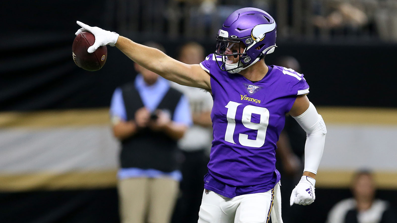 Aug 9, 2019; New Orleans, LA, USA; Minnesota Vikings wide receiver Adam Thielen (19) gestures after a catch against the New Orleans Saints in the first quarter at the Mercedes-Benz Superdome. Mandatory Credit: Chuck Cook-USA TODAY Sports