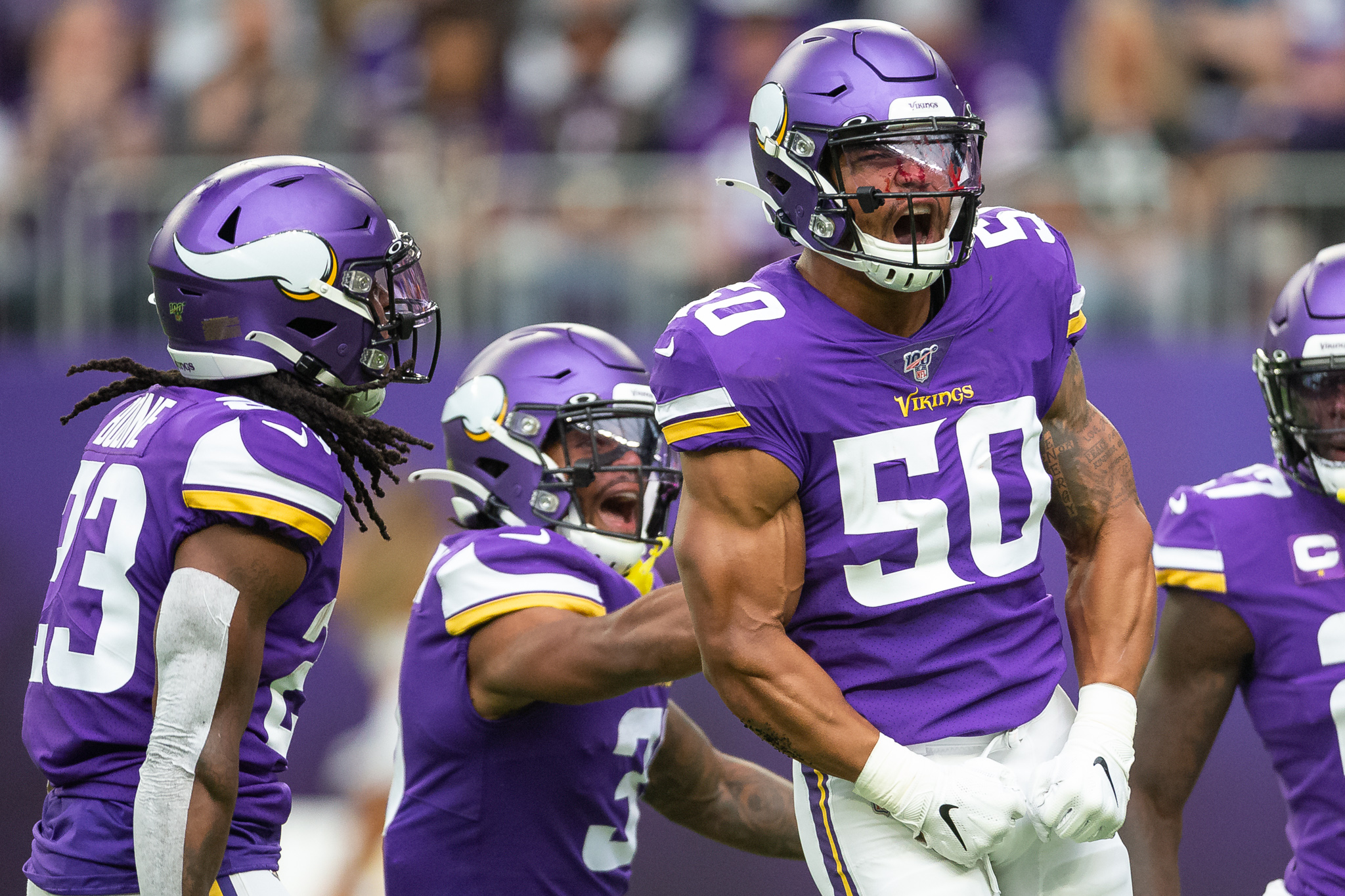 Sep 8, 2019; Minneapolis, MN, USA; Minnesota Vikings linebacker Eric Wilson (50) reacts after blocking a punt against the Atlanta Falcons during the first quarter at U.S. Bank Stadium. Mandatory Credit: Harrison Barden-USA TODAY Sports