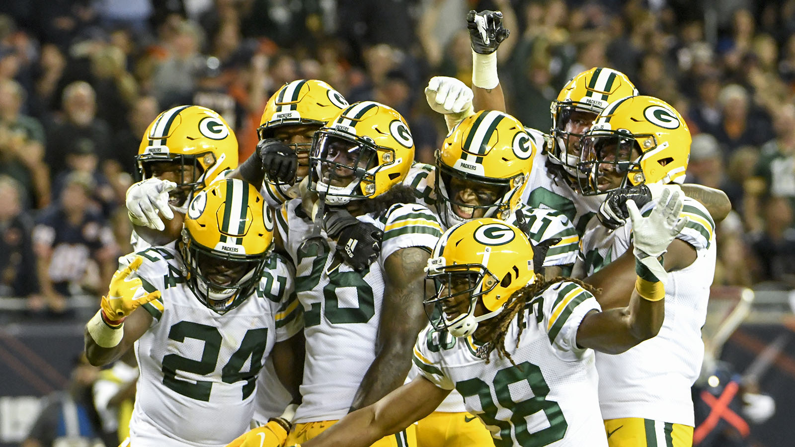 Green Bay Packers players pose for a picture after an NFL football game against the Chicago Bears Thursday, Sept. 5, 2019, in Chicago. The Packers won 10-3. (AP Photo/David Banks)