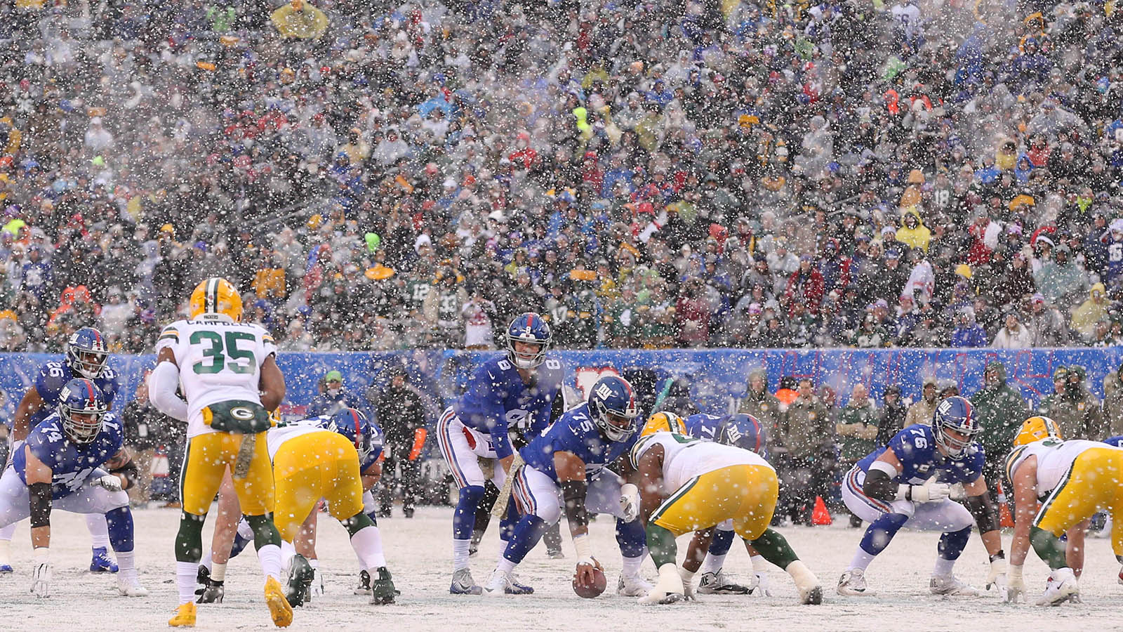 Dec 1, 2019; East Rutherford, NJ, USA; New York Giants quarterback Daniel Jones (8) takes a snap against the Green Bay Packers during the first quarter at MetLife Stadium. Mandatory Credit: Brad Penner-USA TODAY Sports