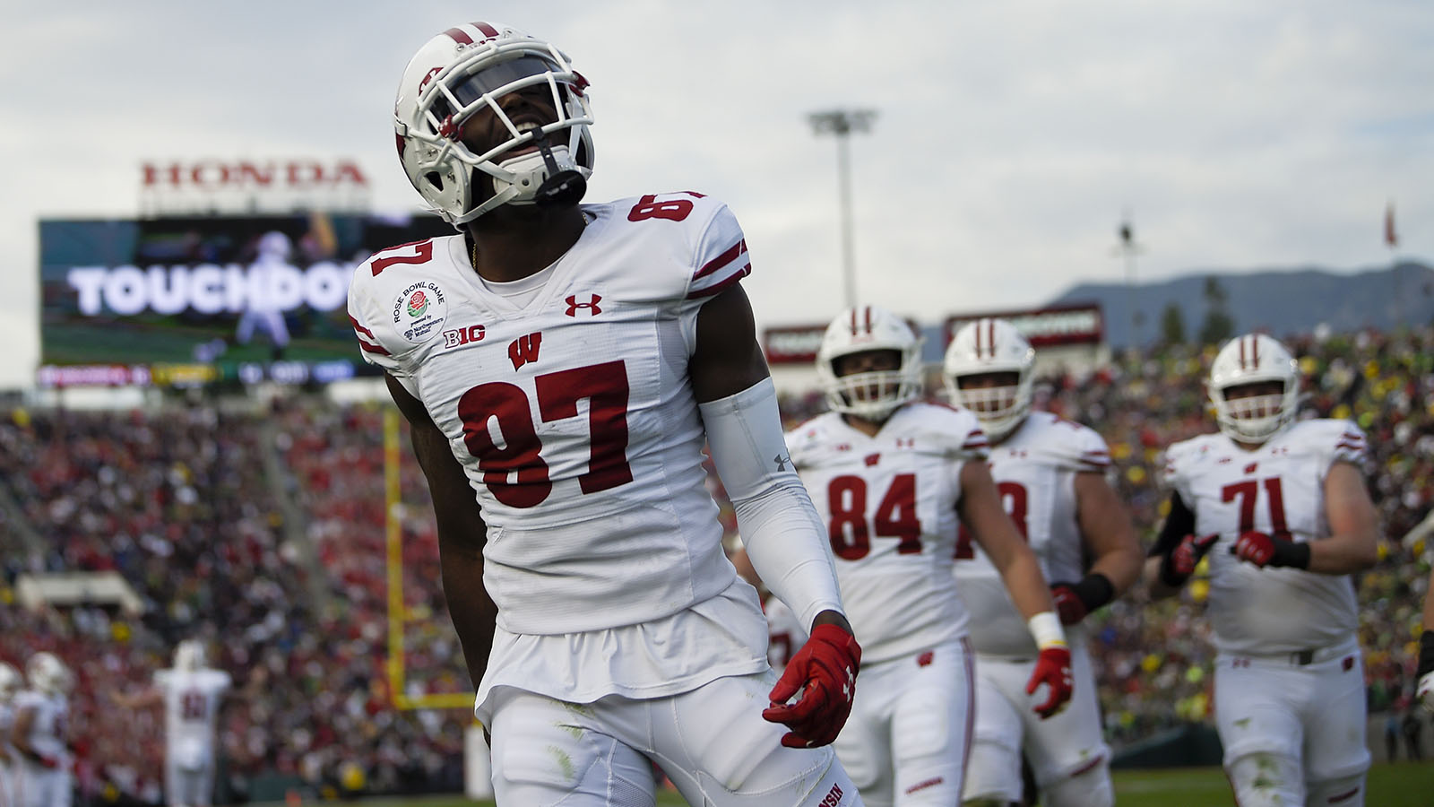 Wisconsin wide receiver Quintez Cephus celebrates after scoring against Oregon during first half of the Rose Bowl NCAA college football game Wednesday, Jan. 1, 2020, in Pasadena, Calif. (AP Photo/Mark J. Terrill)