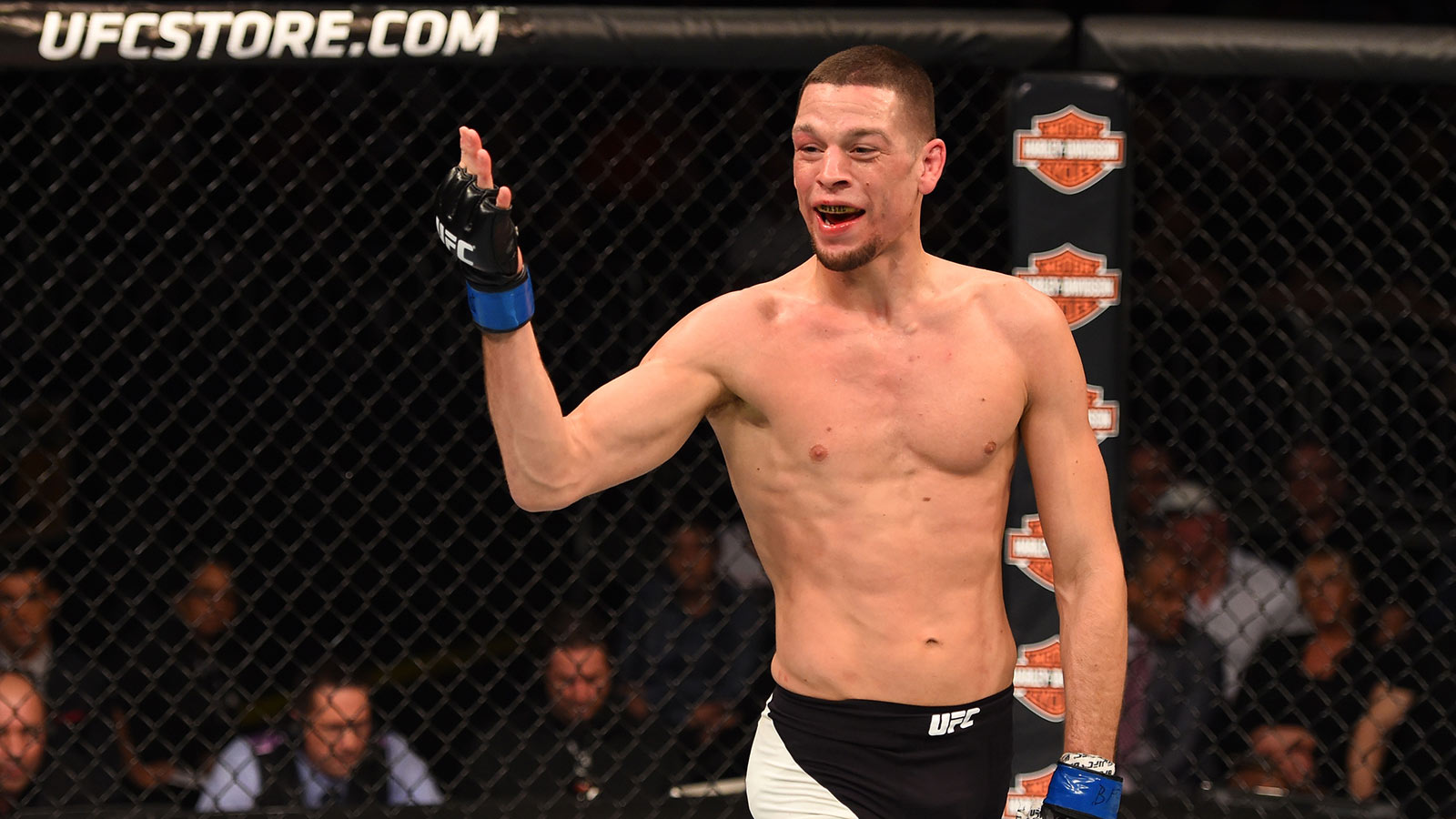 121915-UFC-Fight-Night-Nate-Diaz-taunts-Michael-Johnson-PI